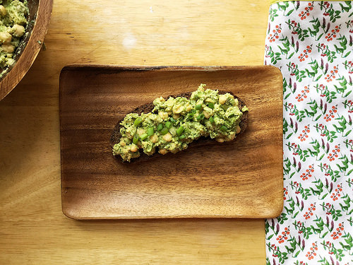 cilantro-lime chickpea and avocado salad toast table.jpg
