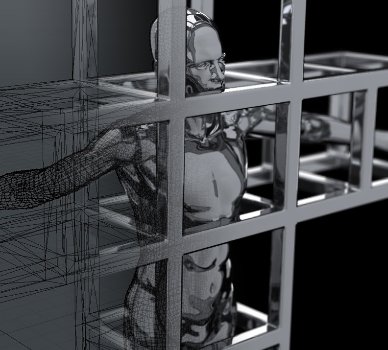 Micro-machined Man in a Cage render
