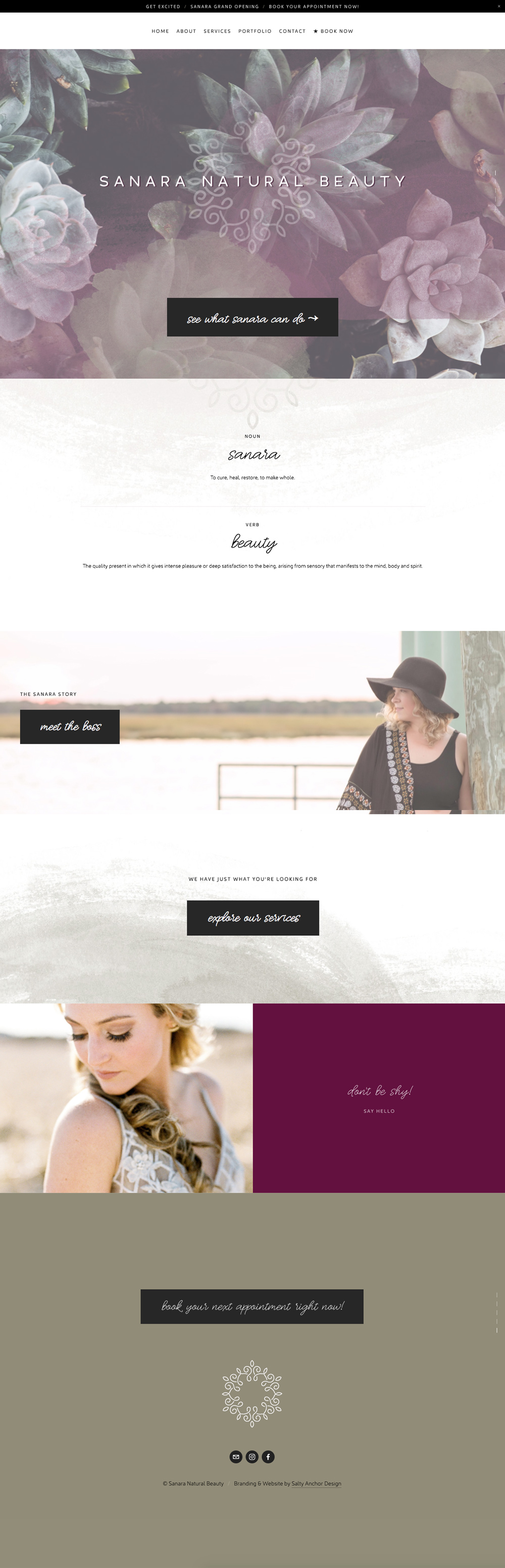 Sanara Squarespace Website Homepage