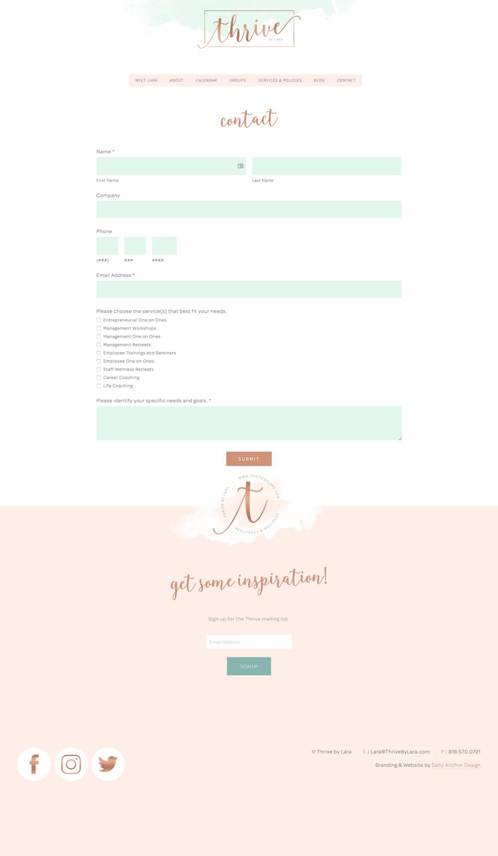 Squarespace Website Design Brand Design Custom Form