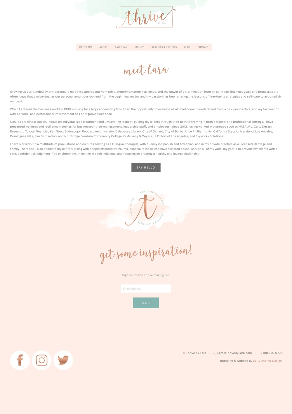Squarespace Website Design Secondary Content Page