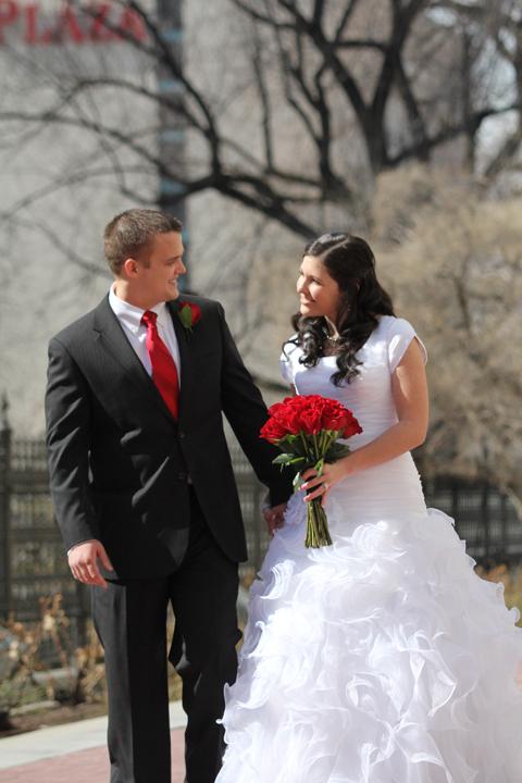 Salt Lake Temple wedding couple