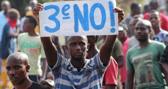 A Burundian protester rejects a third term for President Pierre Nkurunziza. Reuters Photo/Jean Pierre Aime Harerimana