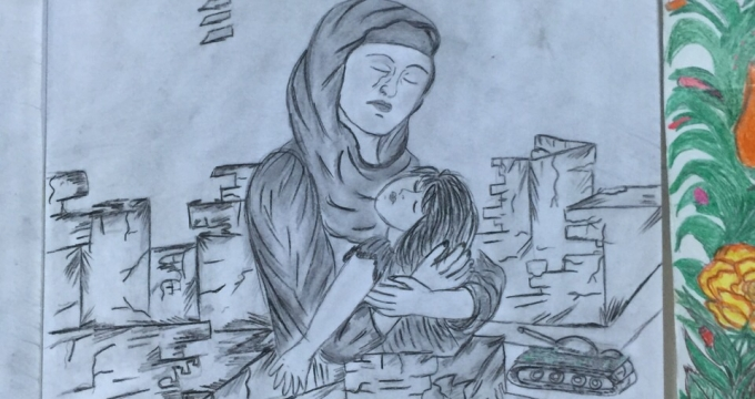 A drawing by a Syrian refugee boy living now in Turkey. Photo courtesy Demet Öger