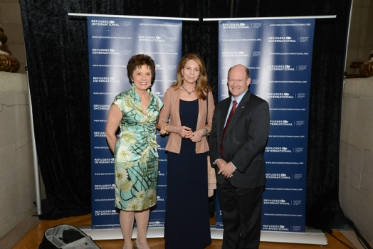McCall-Pierpaoli Honoree Maureen Orth, RI Board Member Her Majesty Queen Noor, and Congressional Honoree Senator Chris Coons