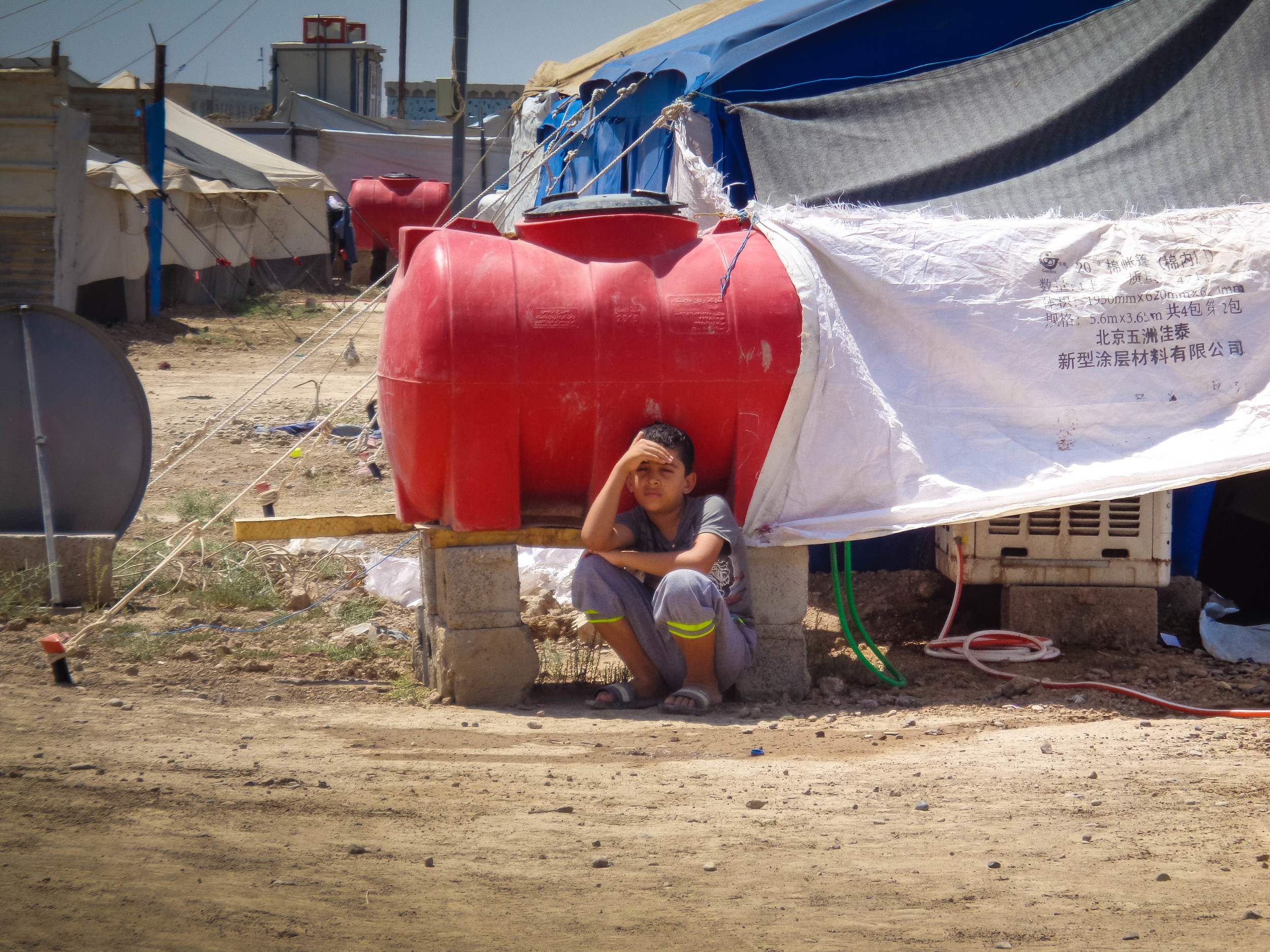 Most of the IDP camps and settlements in Baghdad and neighboring provinces don't have enough water storage facilities to meet the needs of the displaced.