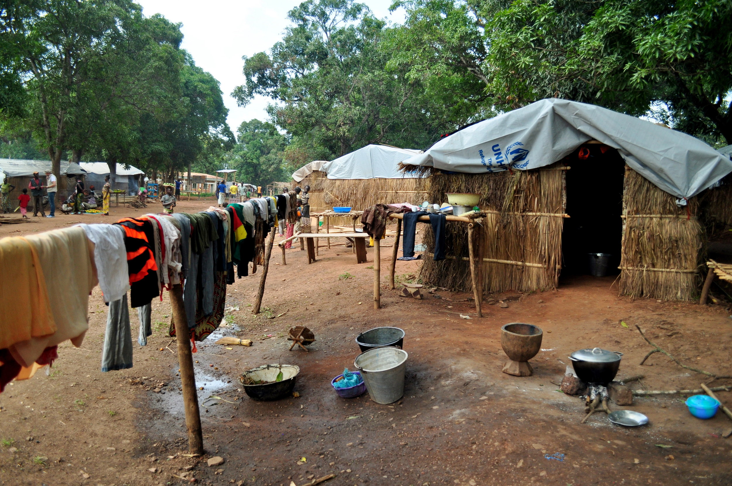 There are more than 30,000 internally displaced people in Bambari right now. Many live in informal camps, like this one, while others live with host families.