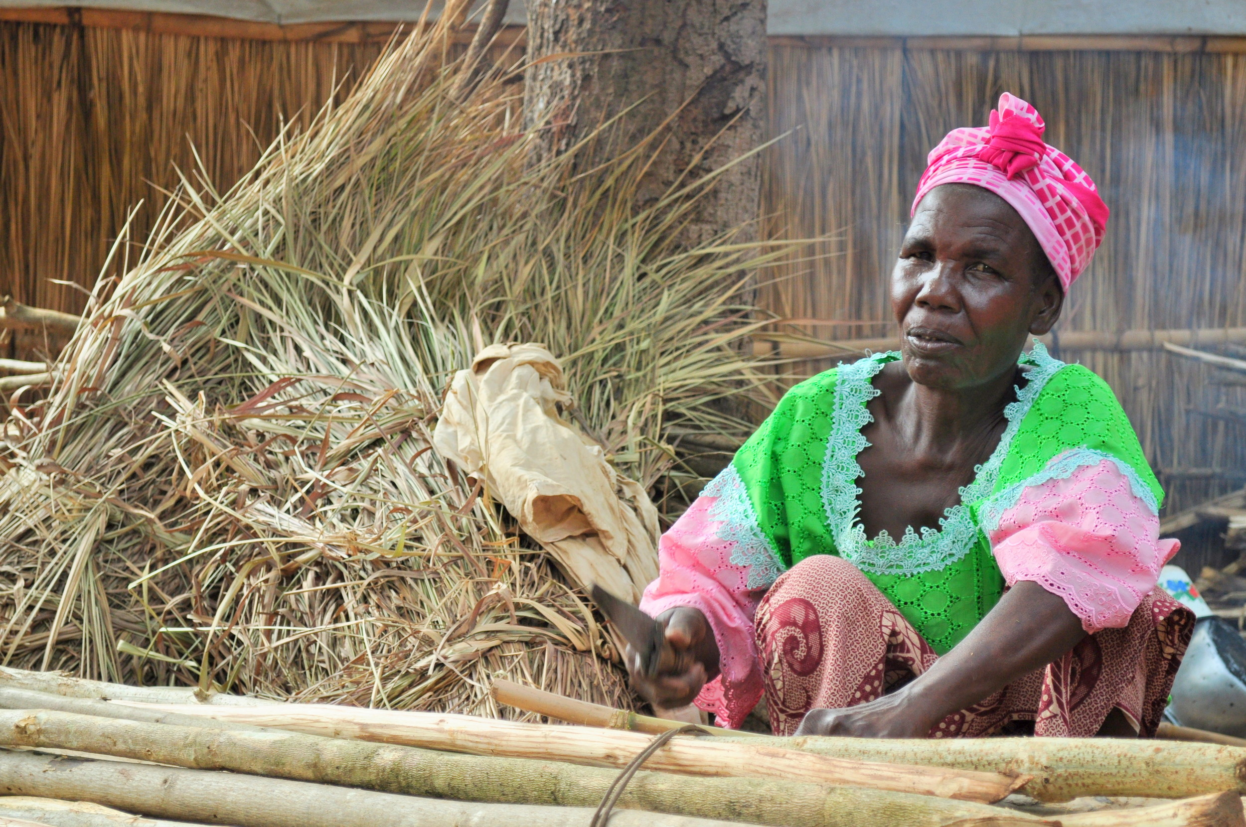 Though many people have lost their jobs, some women in the camps collect and sell firewood to earn money.