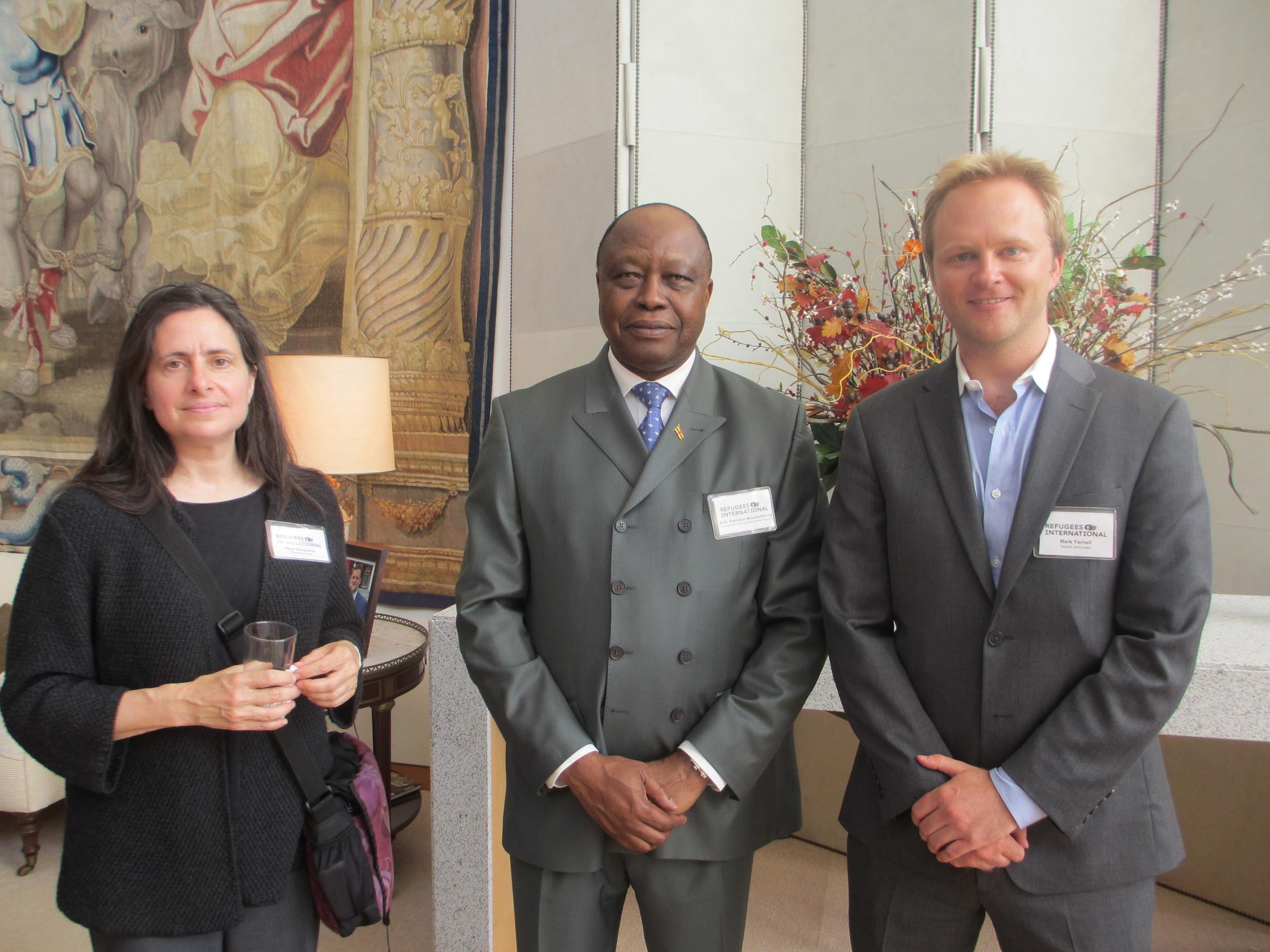 Refugees International Senior Advocate Daryl Grisgraber, Ambassador Stanislas Moussa-Kembe of the Central African Republic, and RI Senior Advocate Mark Yarnell