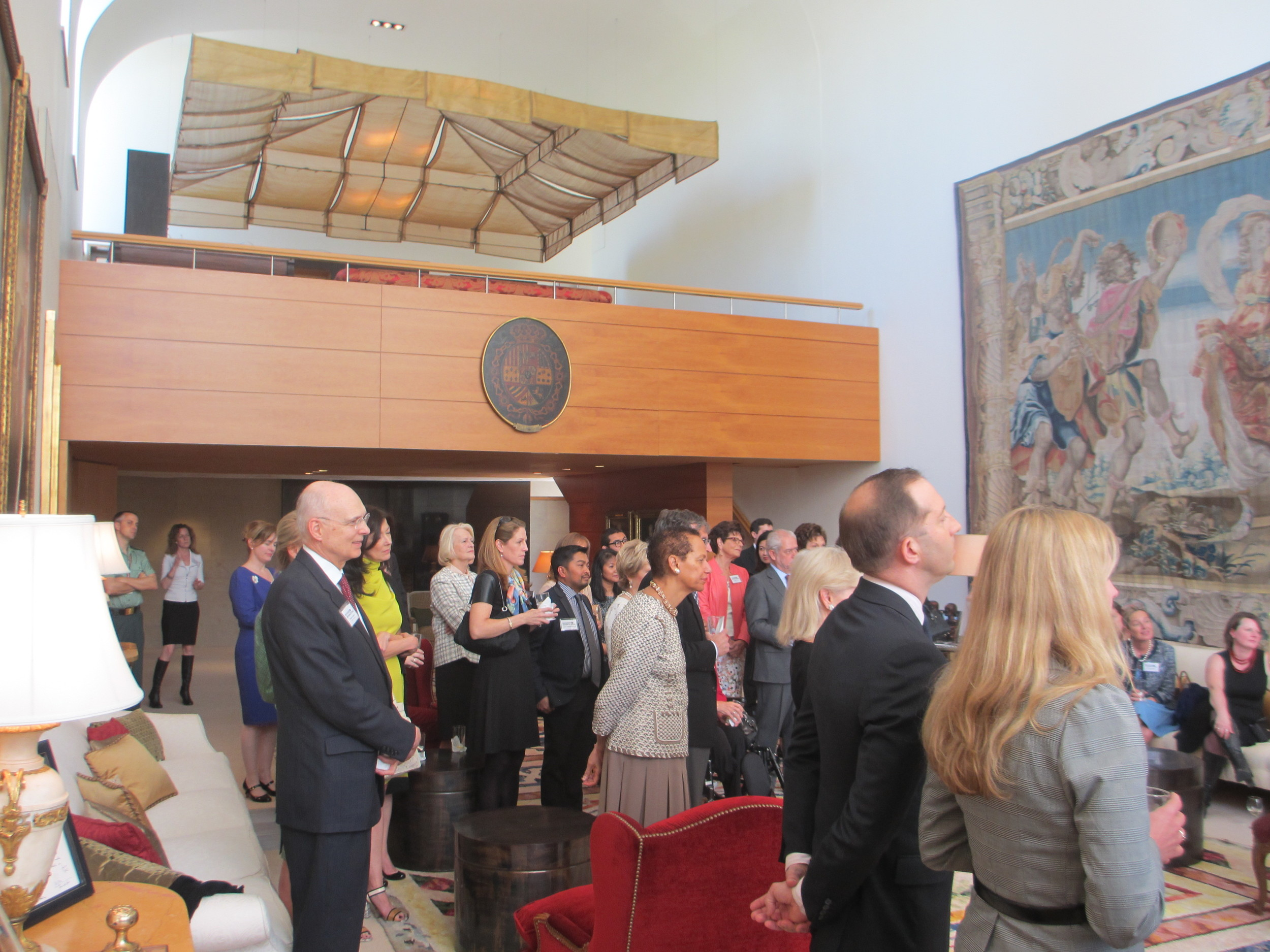 Attendees listen to the Ambassador of Spain speak about the importance of Refugees International