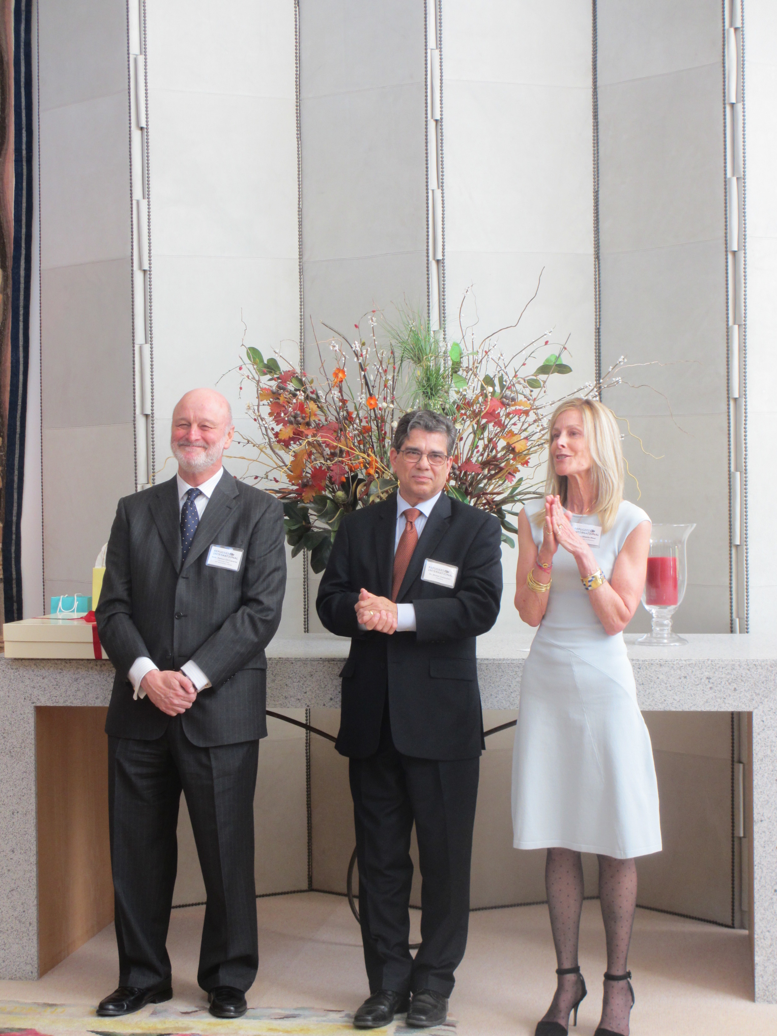 Ambassador Ramon Gil-Casares of Spain, Refugees International President Michel Gabaudan, and Chair of the Board Eileen Shields-West