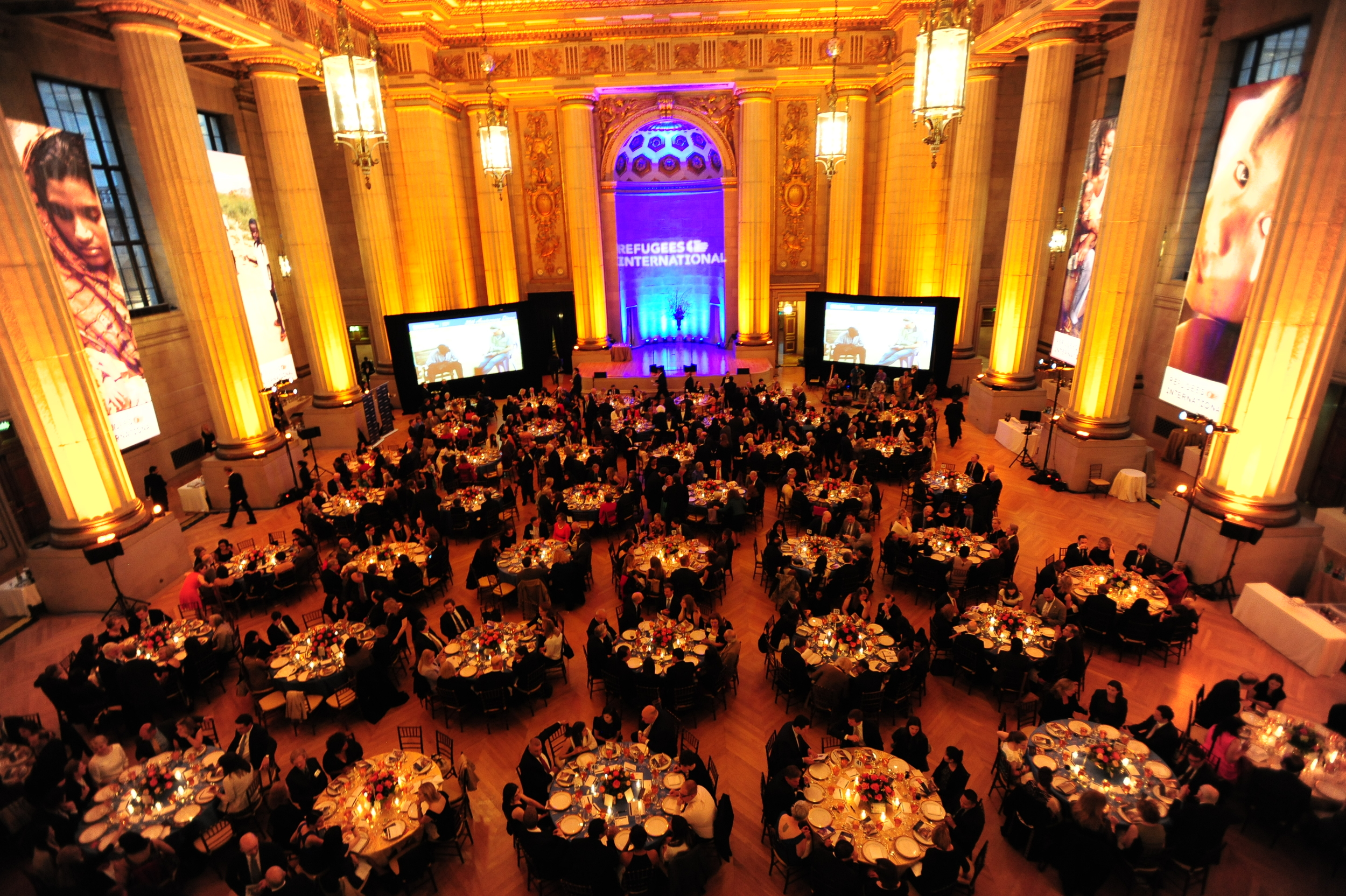 Overview of the dinner at the Andrew W. Mellon Auditorium