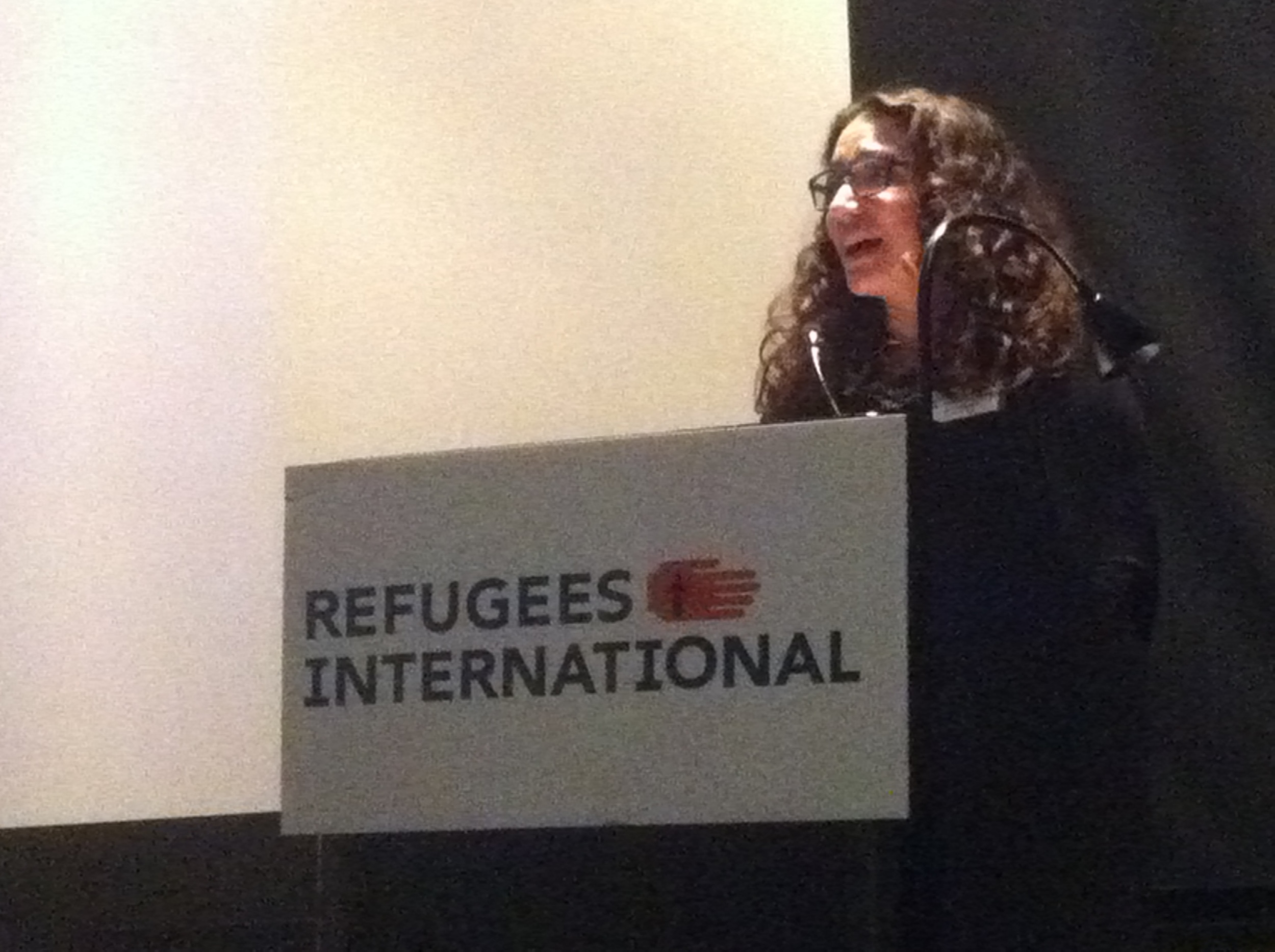 RI Senior Advocate Marcy Hersh tells the audience of the poor planning that often occurs when creating camps for Syrian refugees in neighboring countries, and how women and girls are among the most affected.