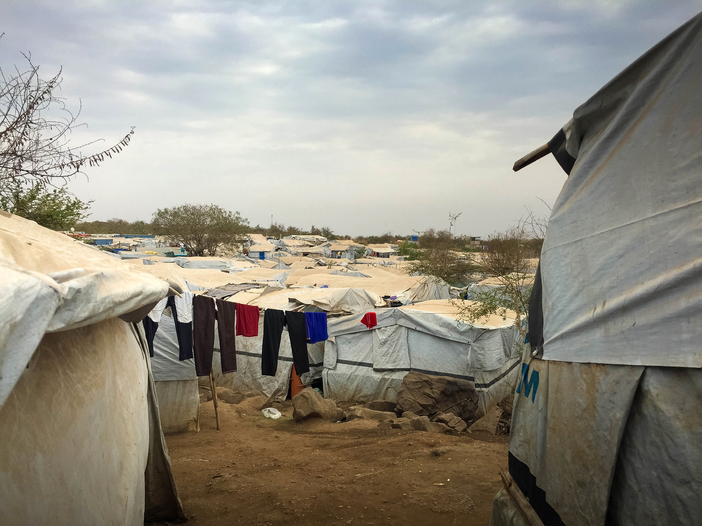 Displaced people's shelters on one of Juba's Protection of Civilians sites.