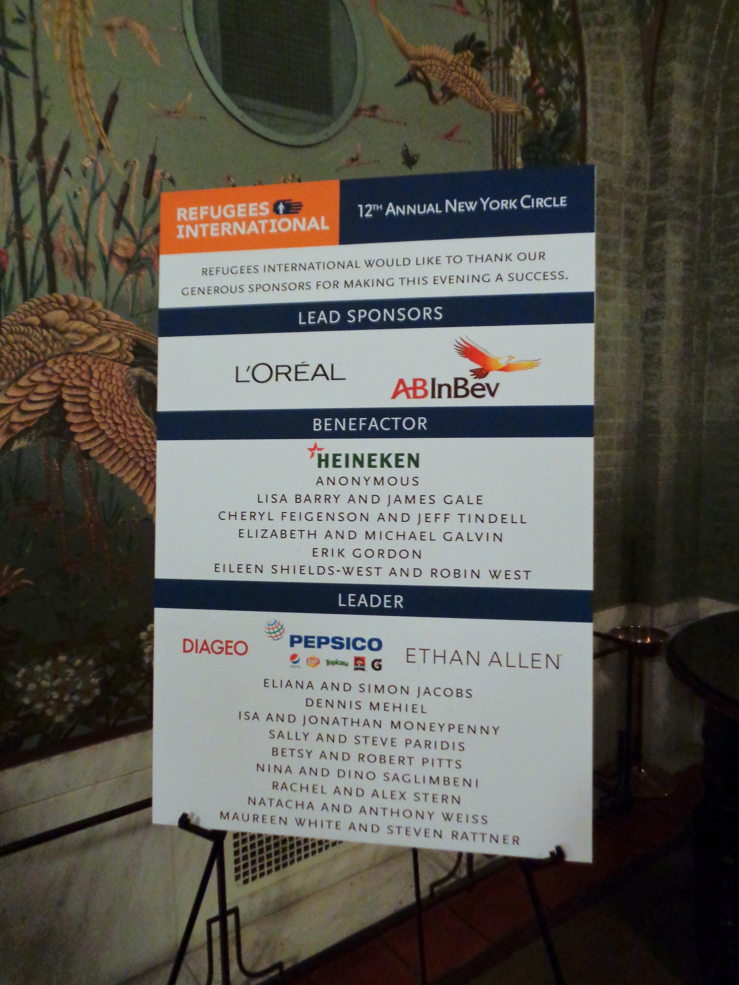 The evening's sponsors