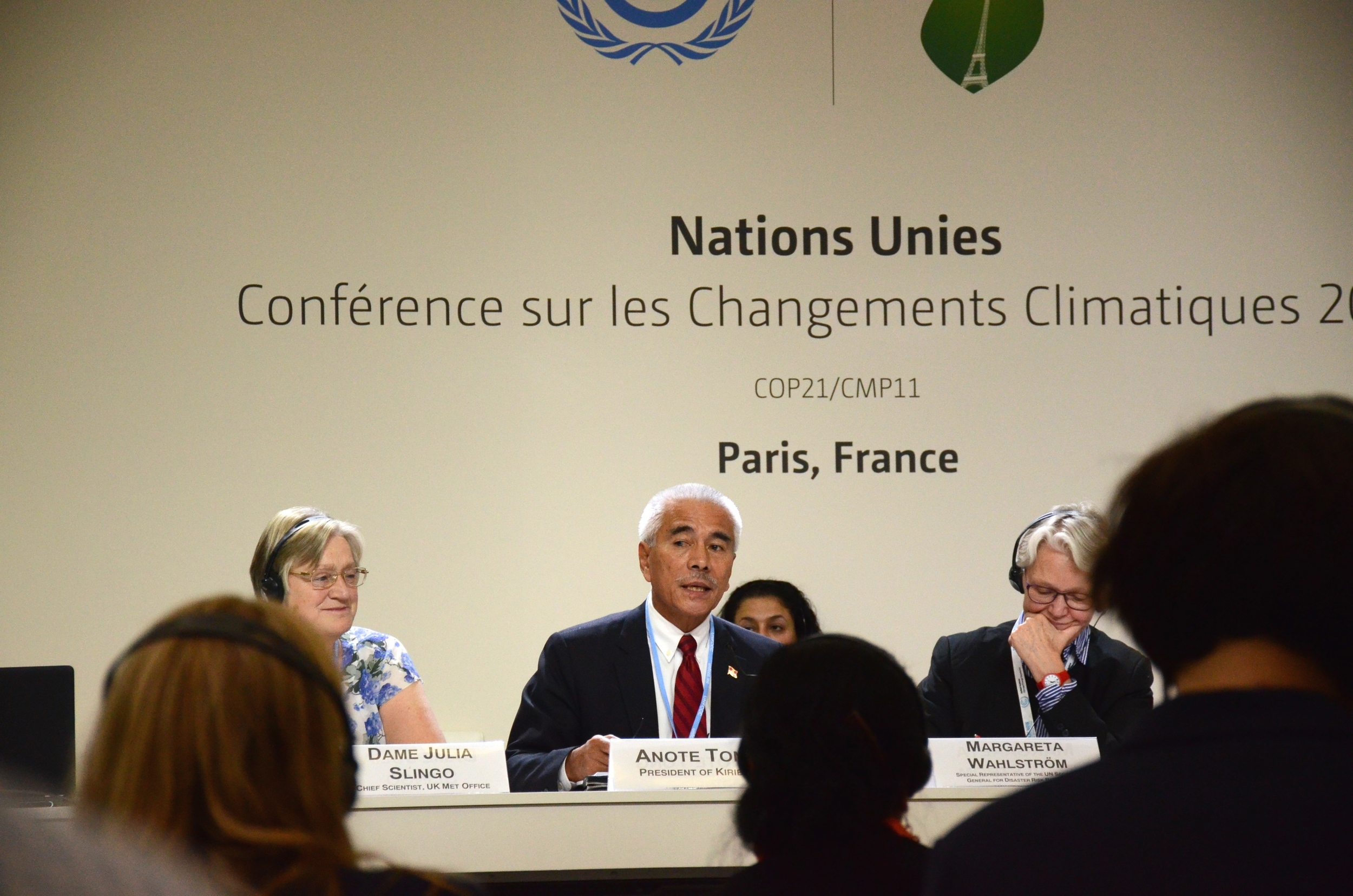 """""""Our plea is very simple: Let us give substance to the pledges that are made. Let us not pay lip-service to an issue that requires urgent action. """"  Kiribati President Anote Tong speaks at an event at COP21. Photo credit: Mattea Mrkusic."""