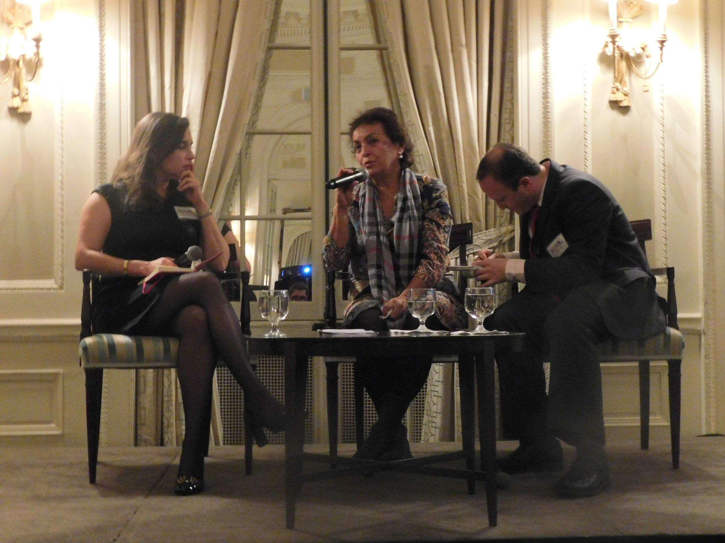 RI Senior Advocate Francisca Vigaud Walsh, Fatima Muriel de Florez, and translator Andrew Roth.