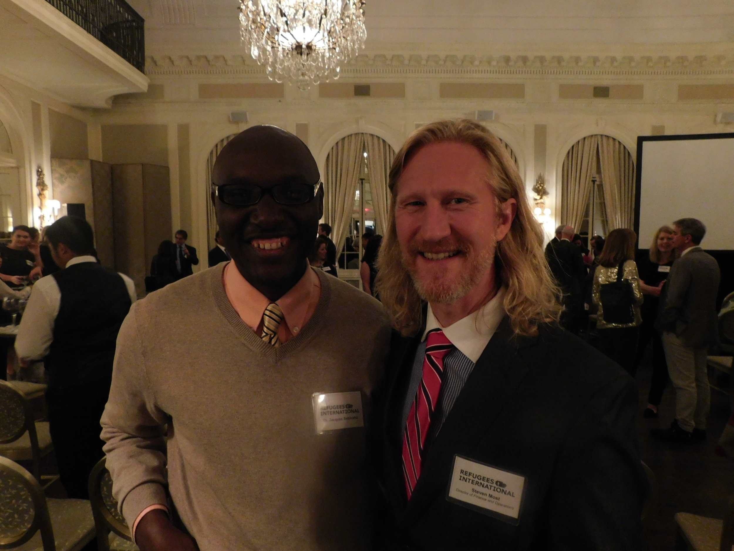 2013 Richard Holbrooke Awardee Jacques Sebisaho and RI Director of Finance and Operations Steve Most
