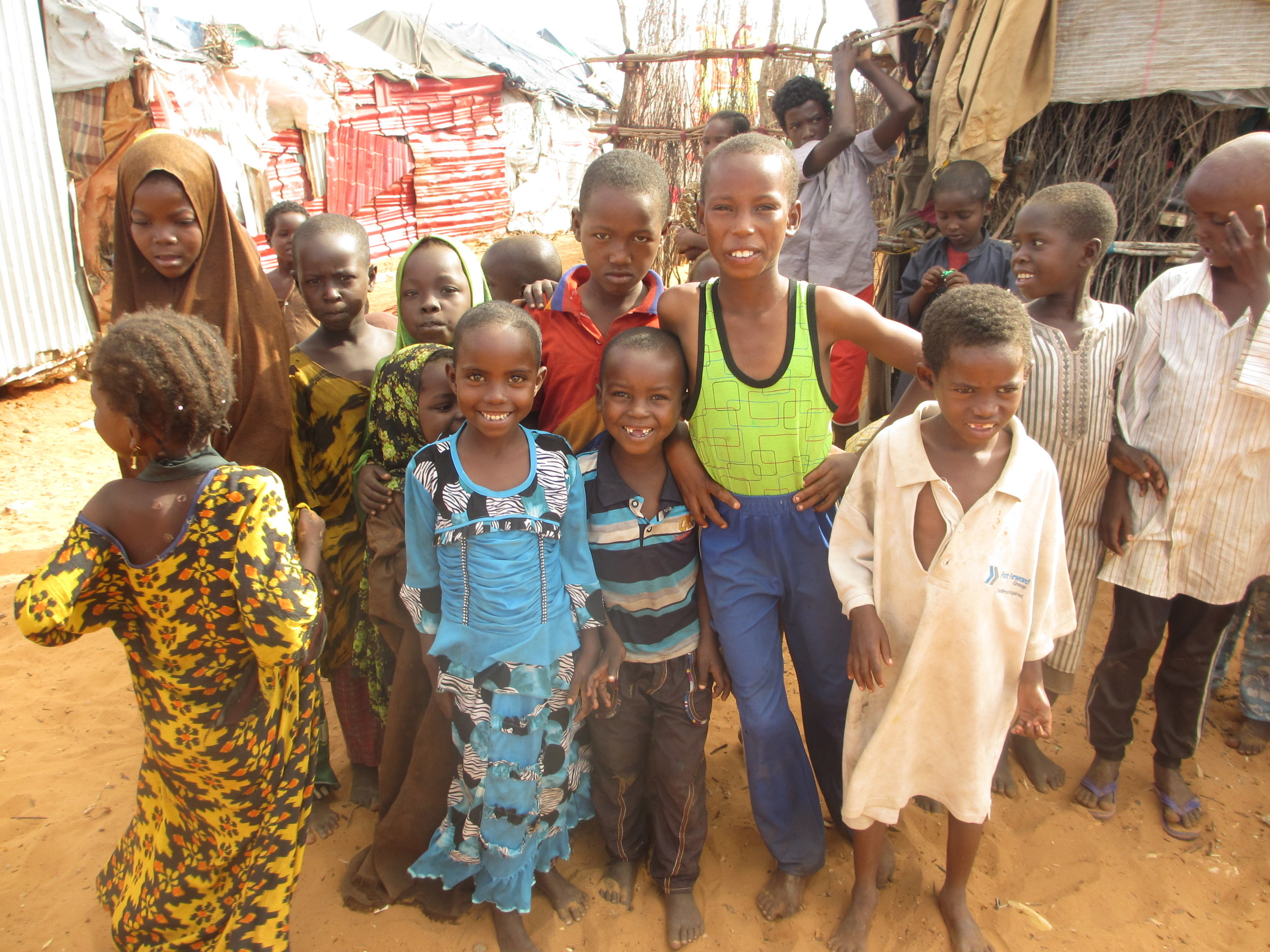 Children at a displacement camp in Kismayo, Somalia, where access to primary education is extremely limited.