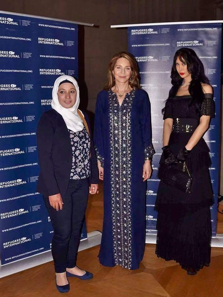 Manal Abazeed, one of the Syrian White Helmets who accepted the McCall-Pierpaoli Award, and RI Board Members Queen Noor Al-Hussein and Demet Öger.