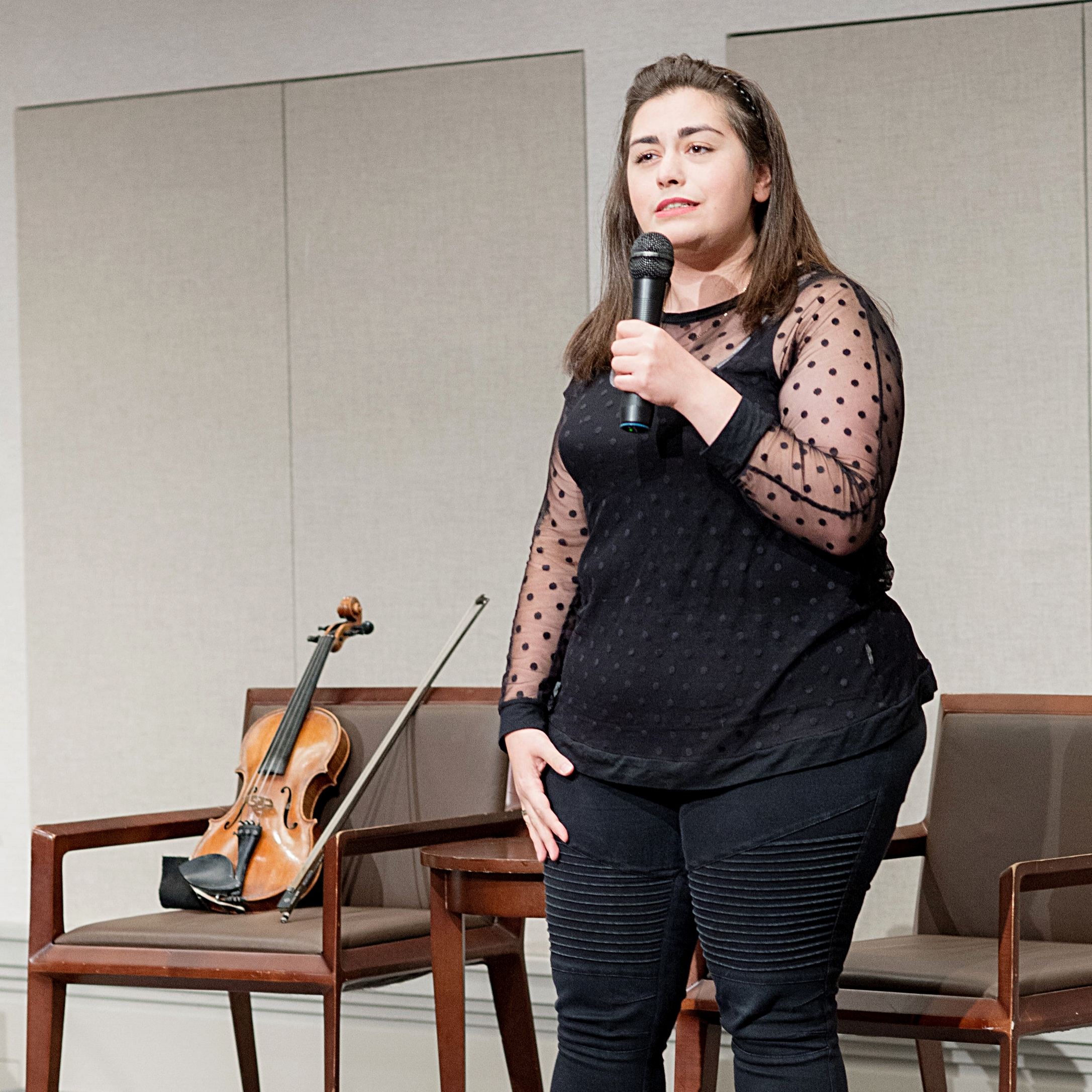 Violinist Mariela Shaker discusses her experiences as a Syrian refugee from Aleppo.