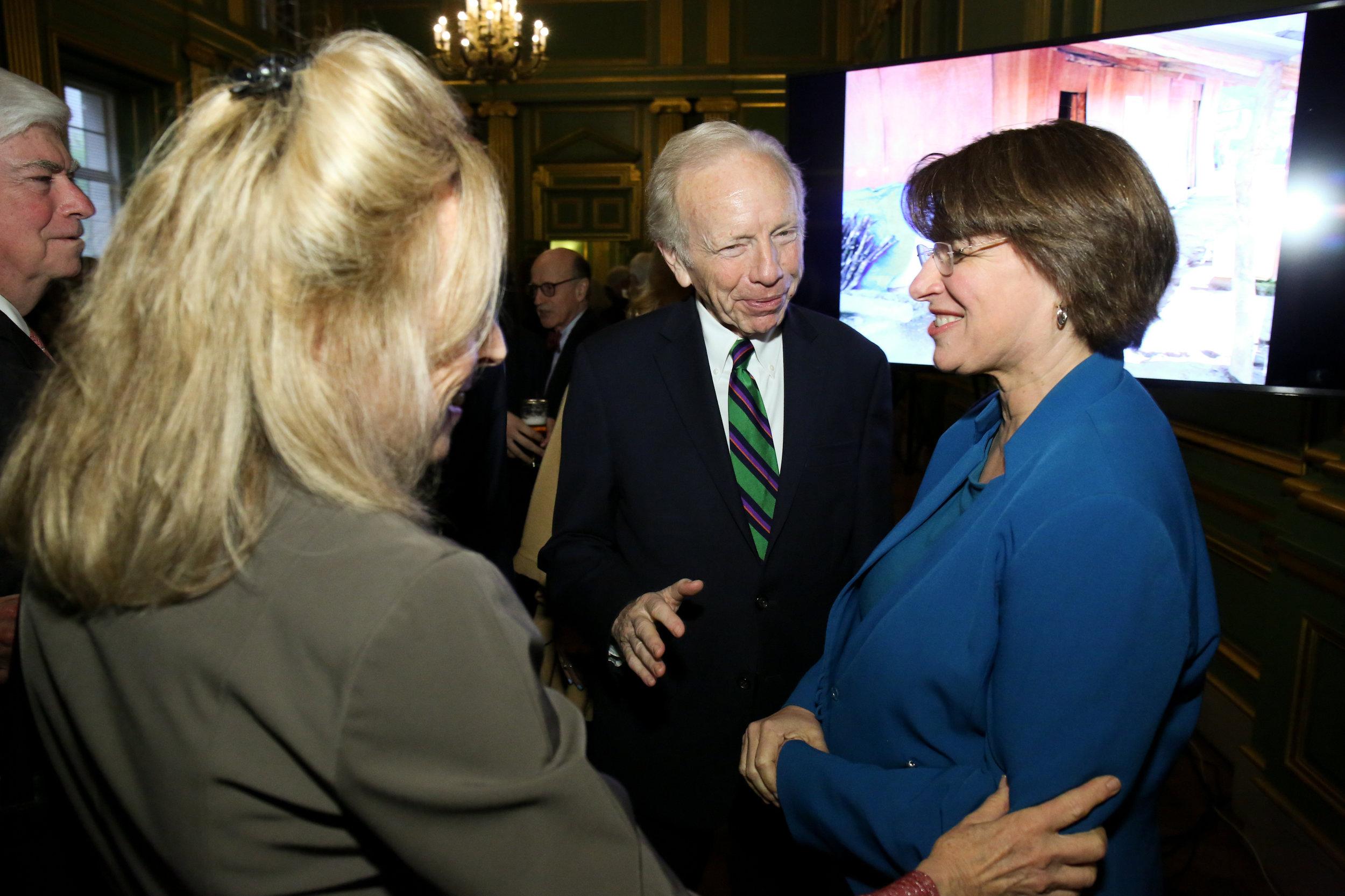 Senator Chris Dodd, Hadassah Lieberman, Senator Joe Lieberman, and Senator Amy Klobuchar