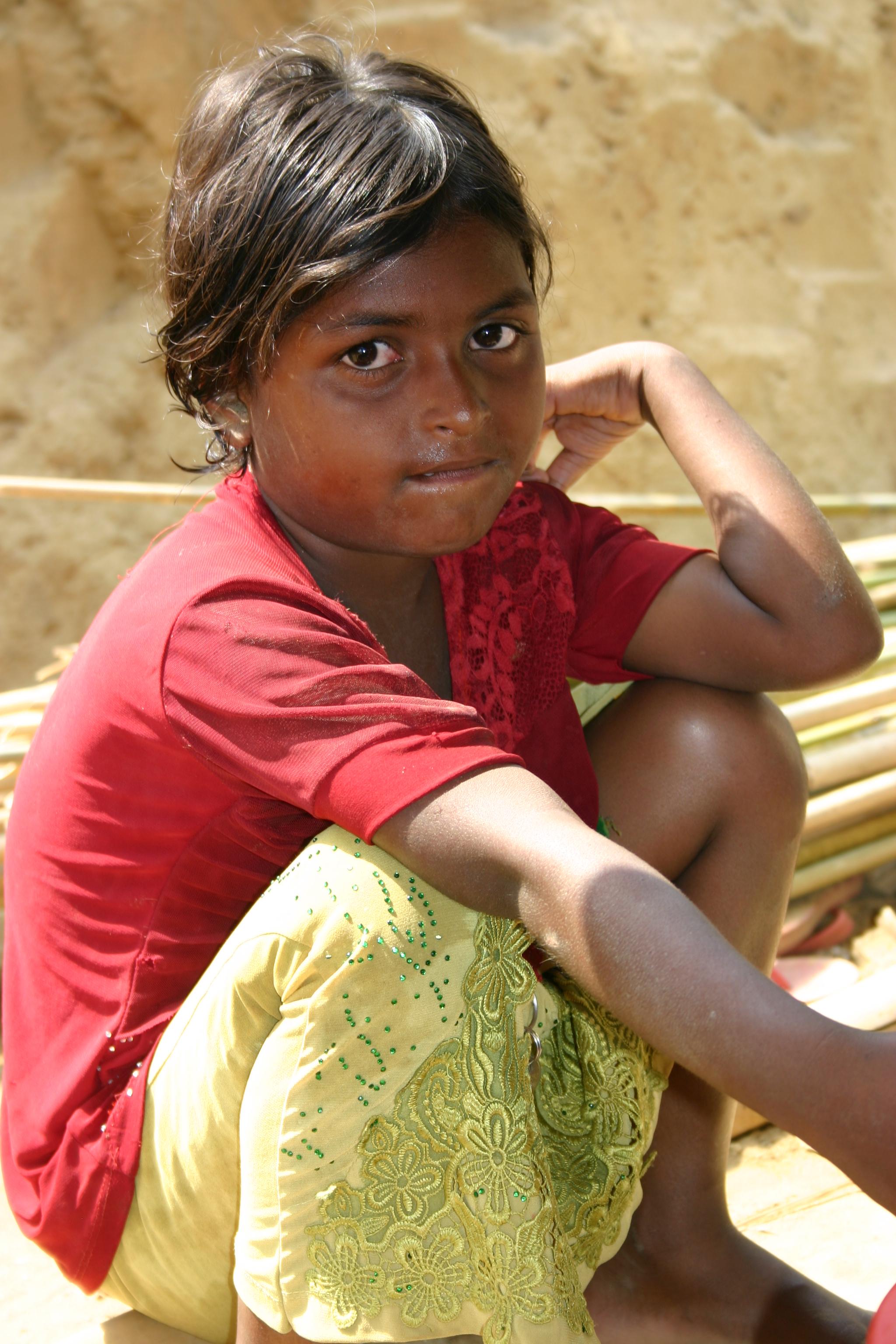 Rohingya girl who recently arrived in one of the refugee camps in Bangladesh.