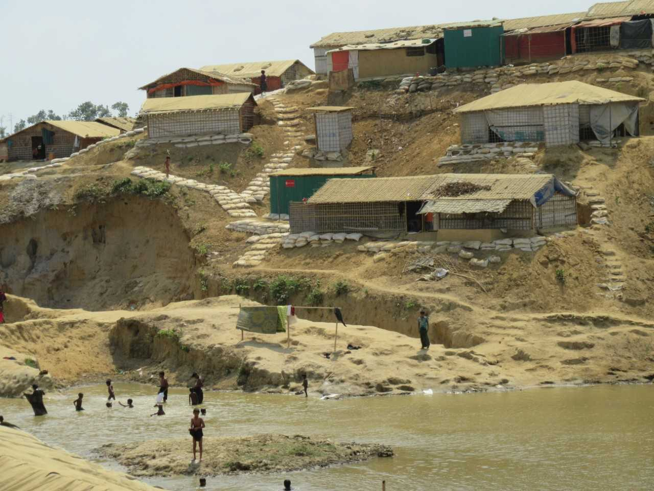 Rohingya refugee camp on hillside potentially vulnerable to upcoming monsoon rains.