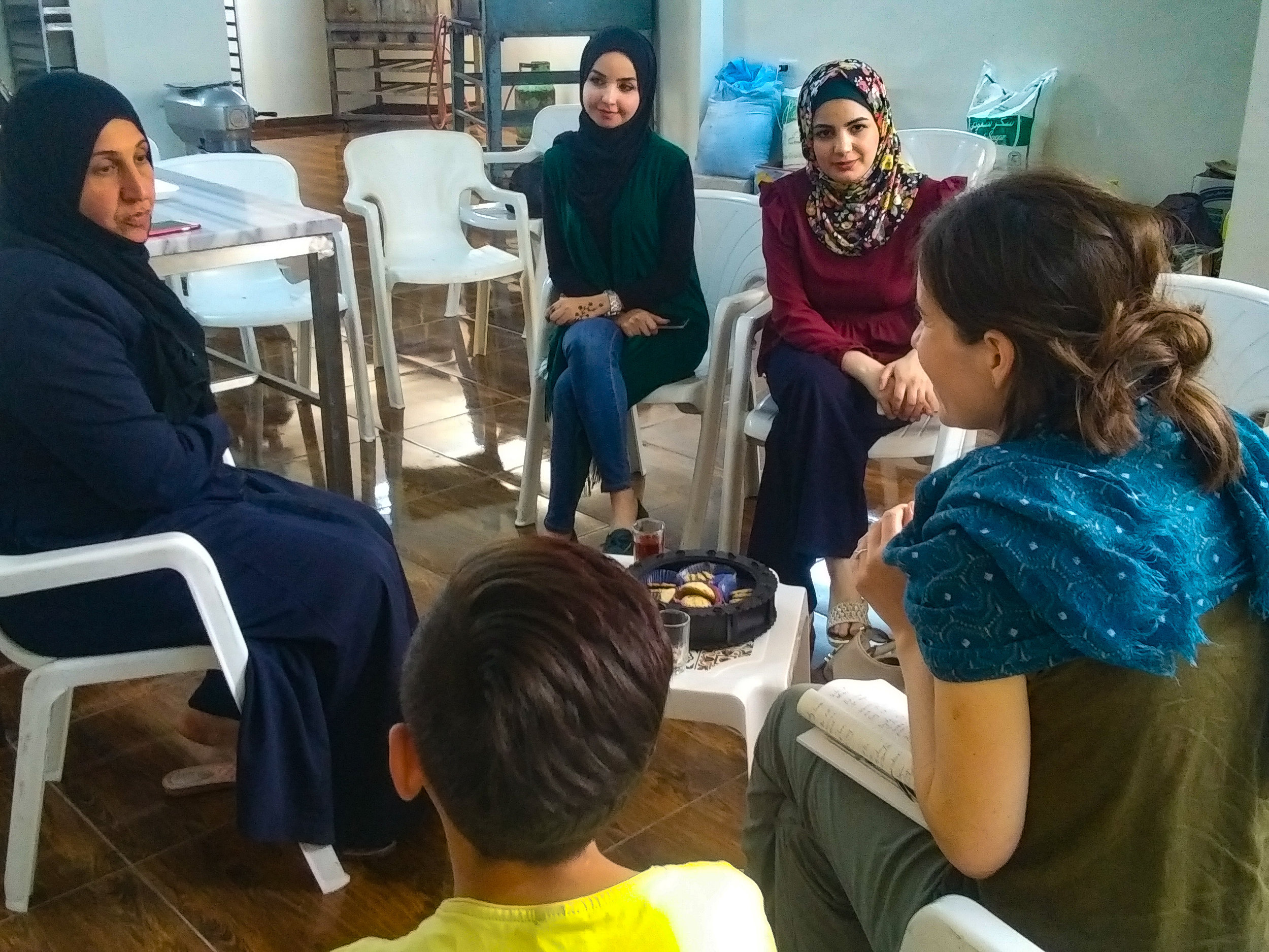 Interviewing Syrian and Jordanian women at their business in Irbid, Jordan.