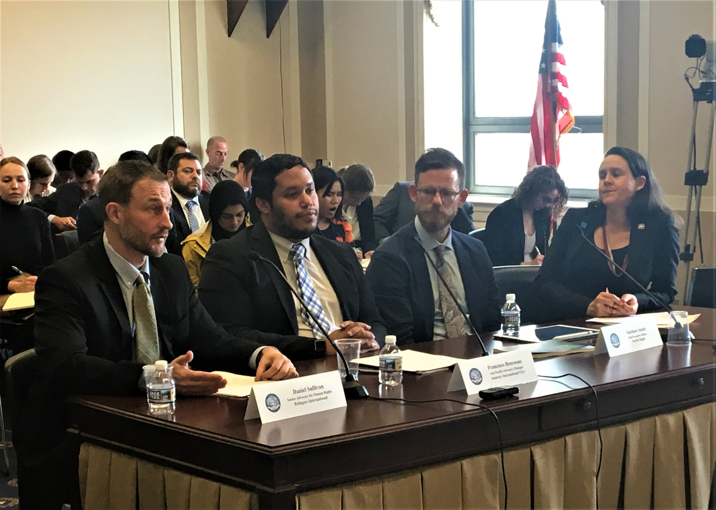 Daniel Sullivan (left) testifies before a Tom Lantos Human Rights Commission Hearing on Victims' Rights in Burma.