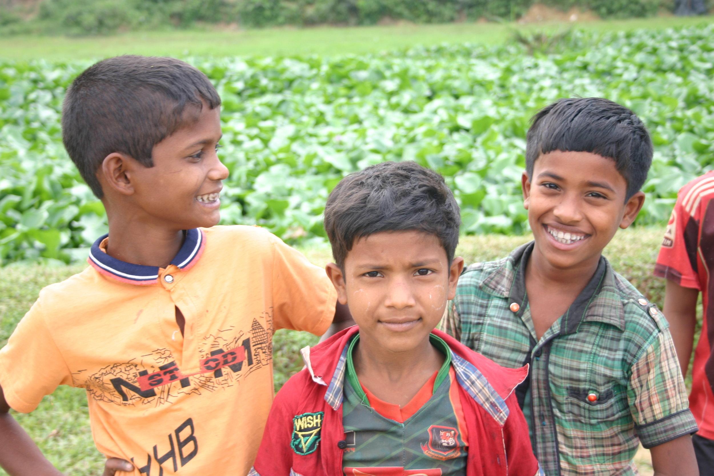 Displaced Rohingya boys in a refugee camp in Bangladesh.