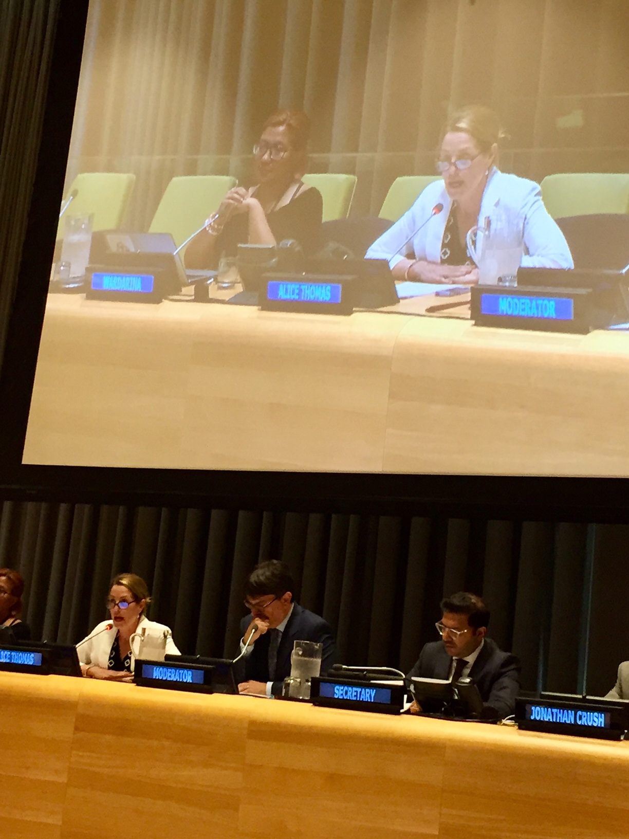 Alice Thomas speaks at the United Nations in New York City during the Global Compact negotiations.