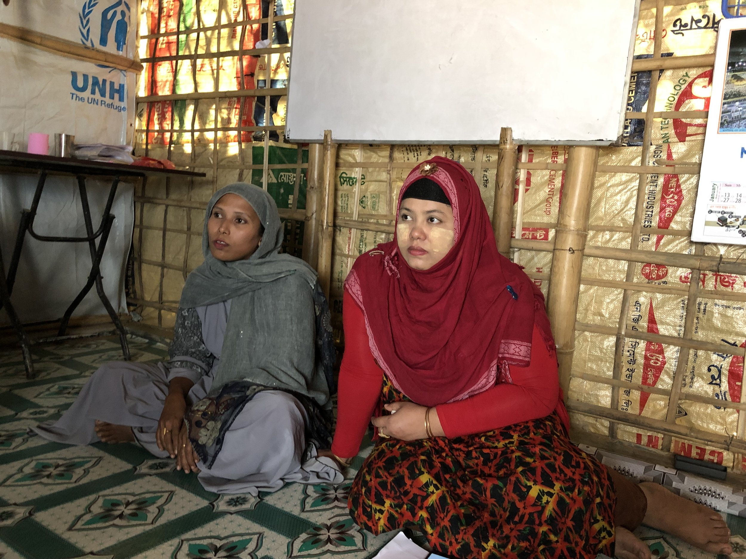 Chekufa (right) runs the volunteer Rohingya Women's Empowerment and Advocacy Network.