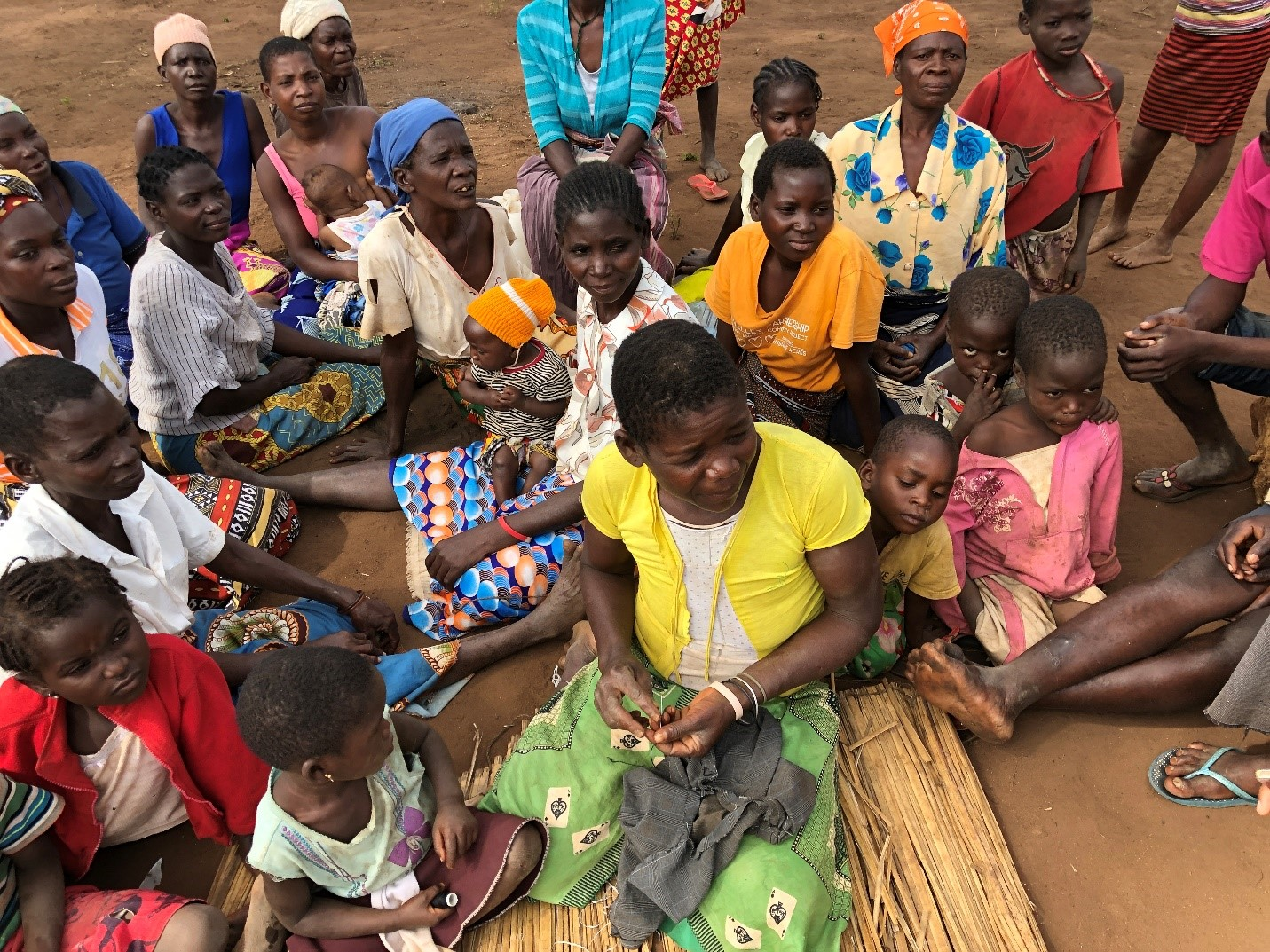 Displaced women gather in a resettlement site in central Mozambique.