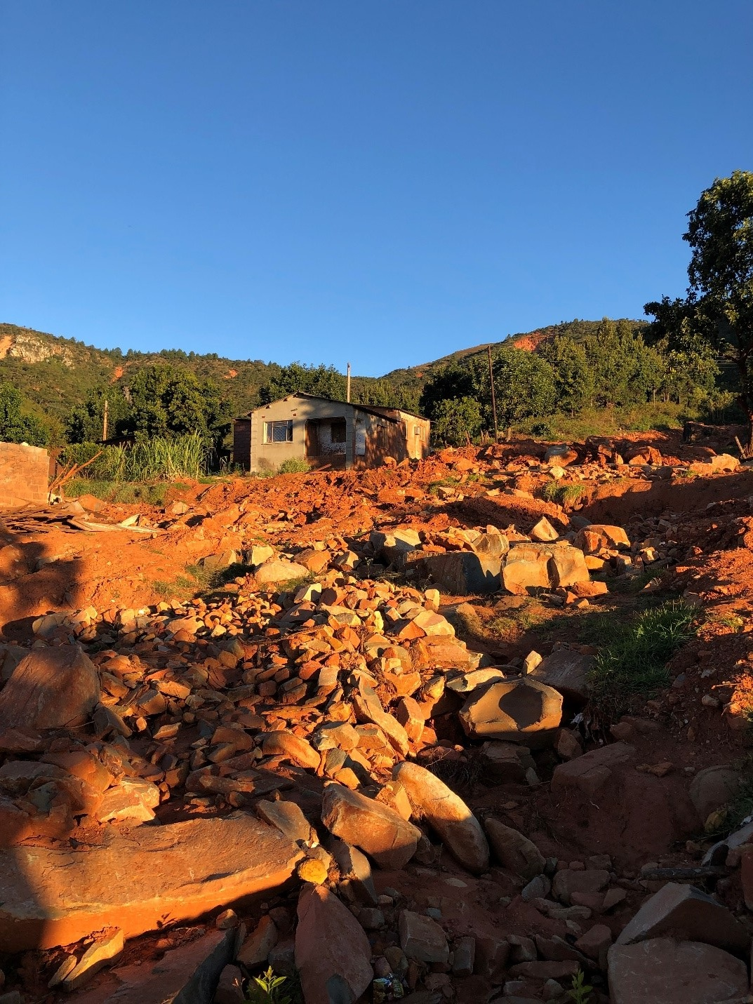 A river of rocks after a landslide caused by Cyclone Idai in Chimanimani, Zimbabwe. The landslides destroyed hundreds of homes in a matter of minutes.