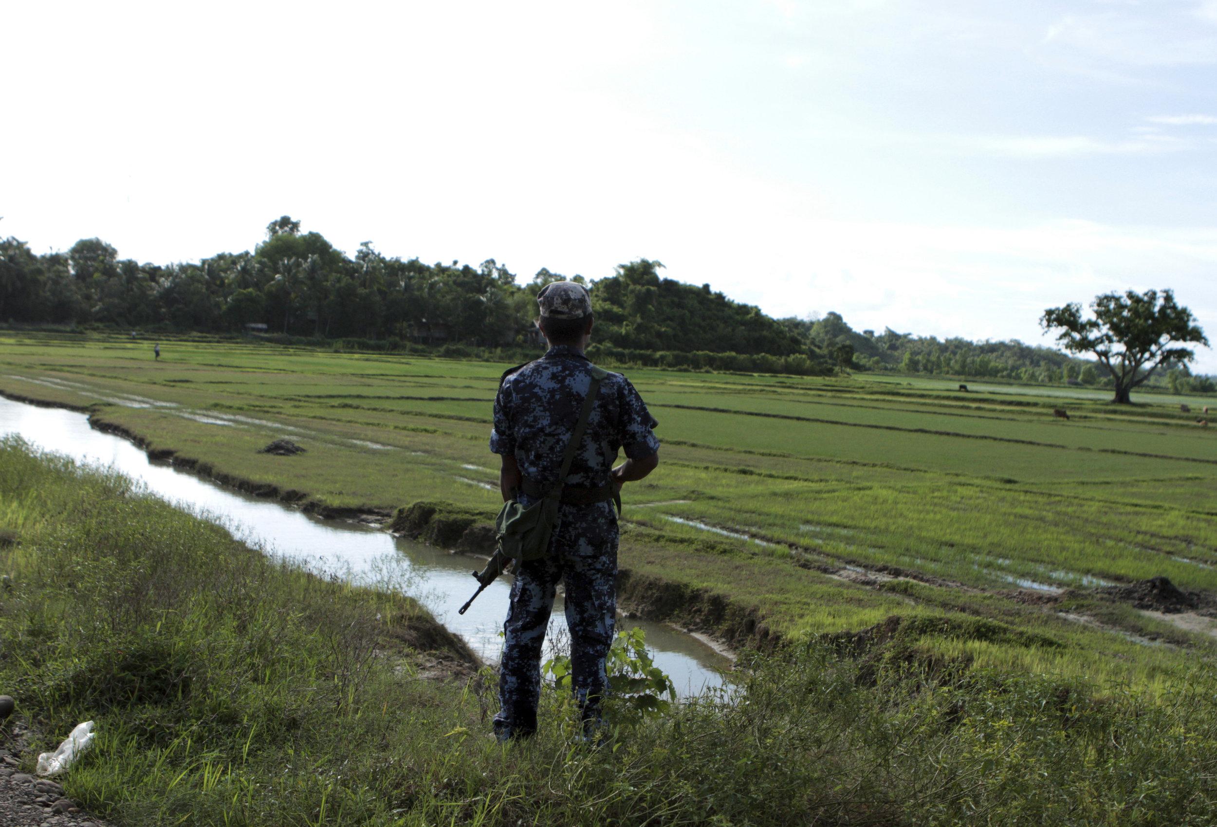 Police officer in Rakhine state, Myanmar. Photo Credit: Min Kyi Thein/AP Photo.