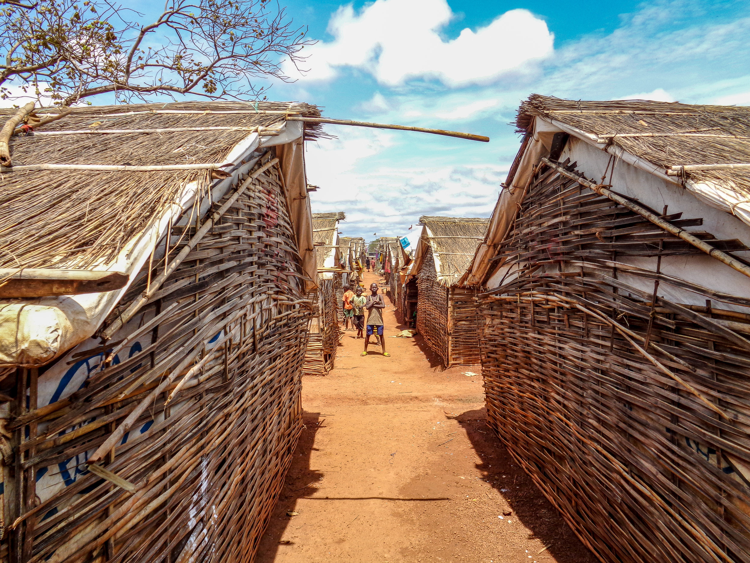 View of shelters in South Sudan where internally displaced people live in a UN-hosted Protection of Civilian site (PoCs). Photo Credit: Refugees International.