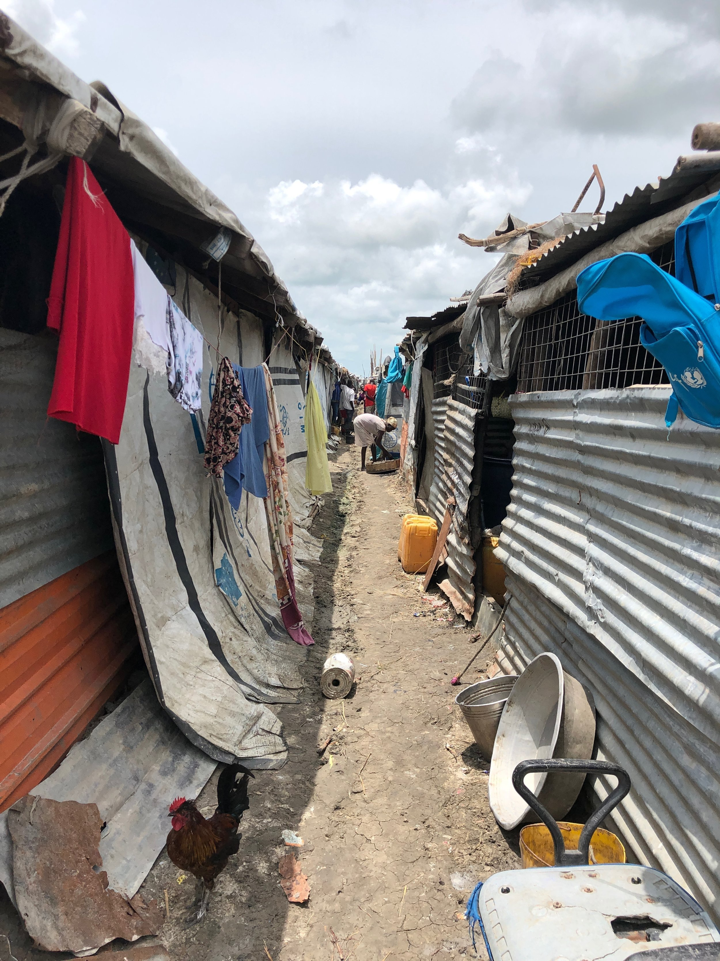 After visiting Juba, the Refugees International team traveled to Malakal. Inside the POC, people are living in overcrowded, cramped shelters.