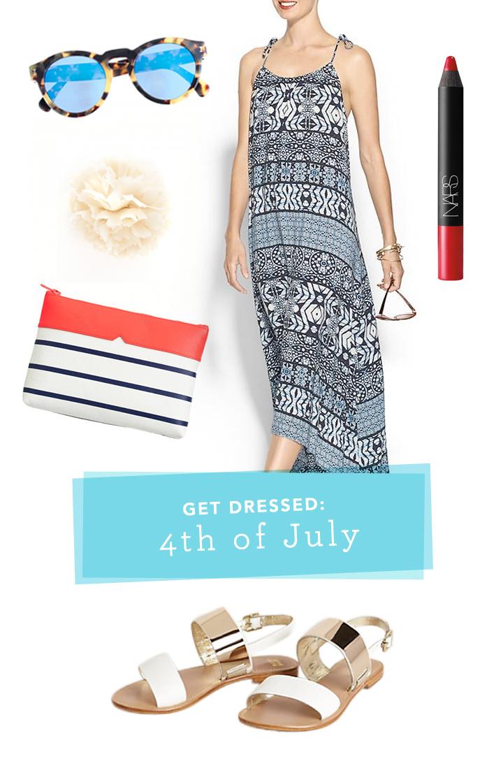 sunglasses  /  dress  /  lipstick  /  sandals  /  clutch  /  flower pin