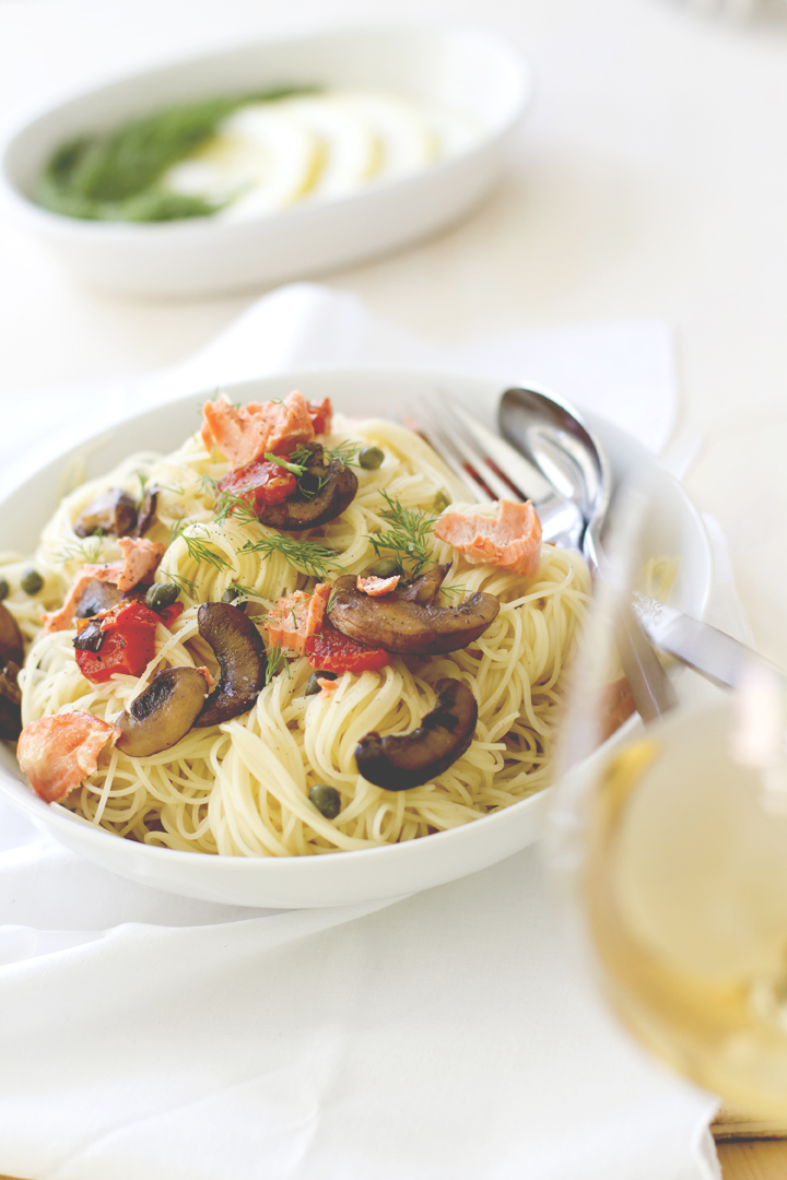 Capellini with Salmon and Vegetables