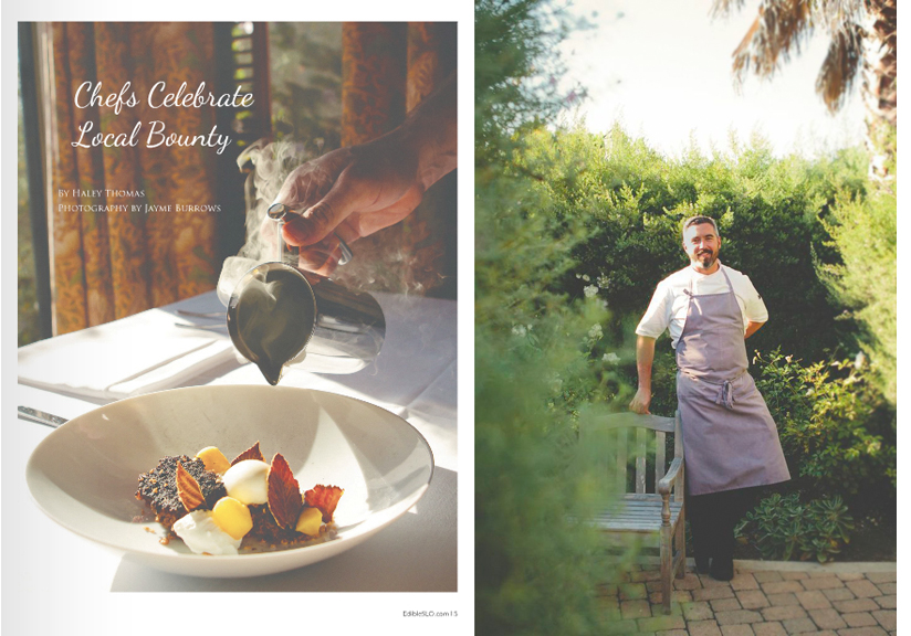 Chef Jensen Lorenzen photographed in the gardens of the Cass House restaurant in Cayucos, California.