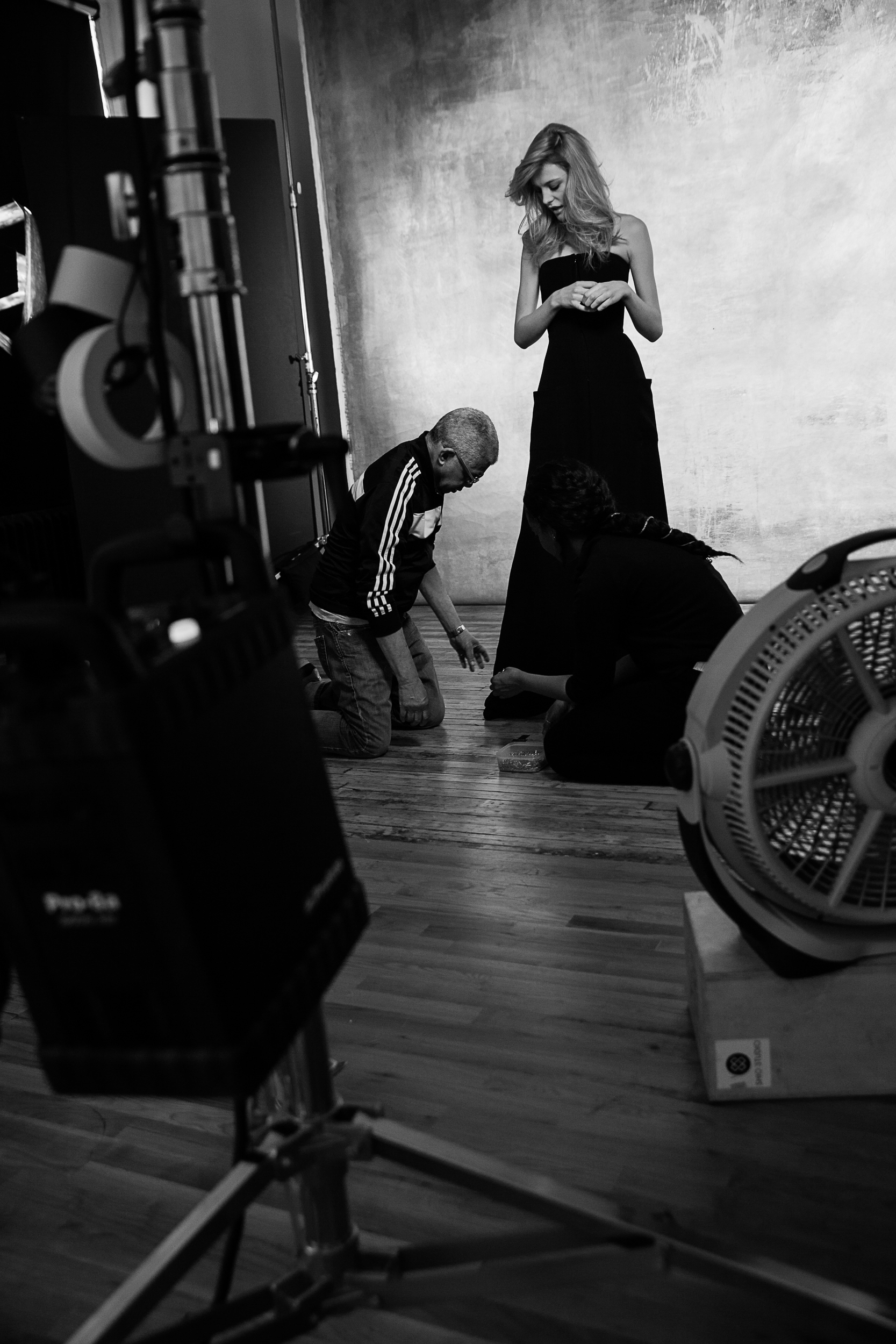 Stylist Freddie Leiba dressing Erika Pattison.