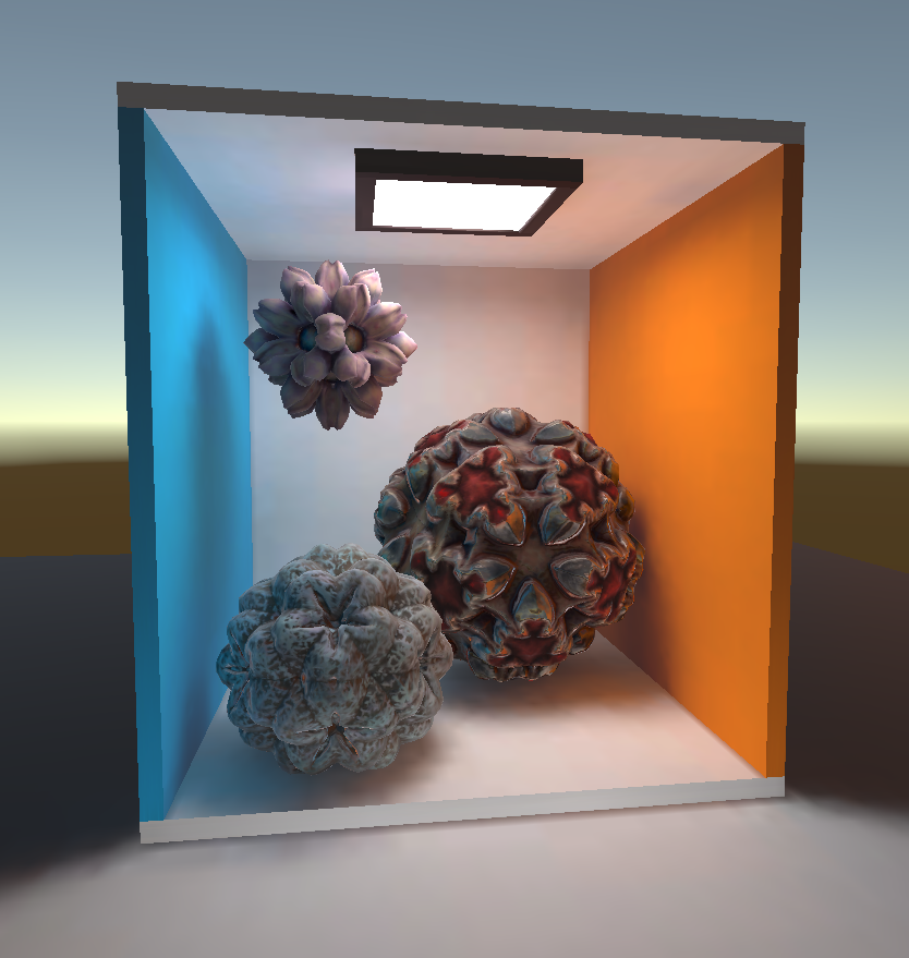 New materials for the NuPrim Spheres.  Download a simple demo of this scene  for your Rift.