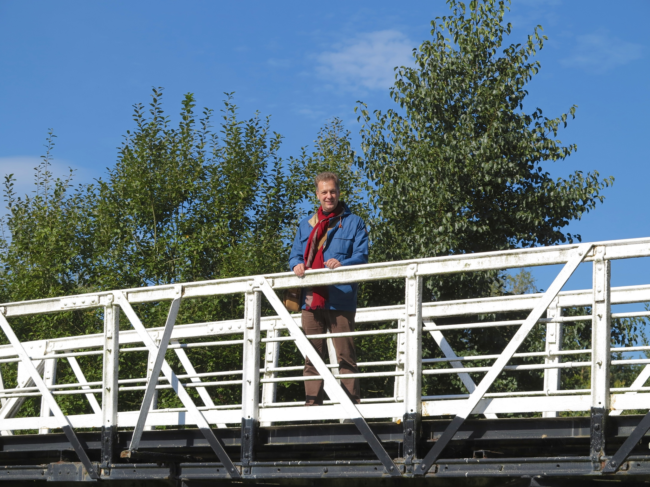Crossing a bridge over the canal in Stoke-on-Trent (2013).