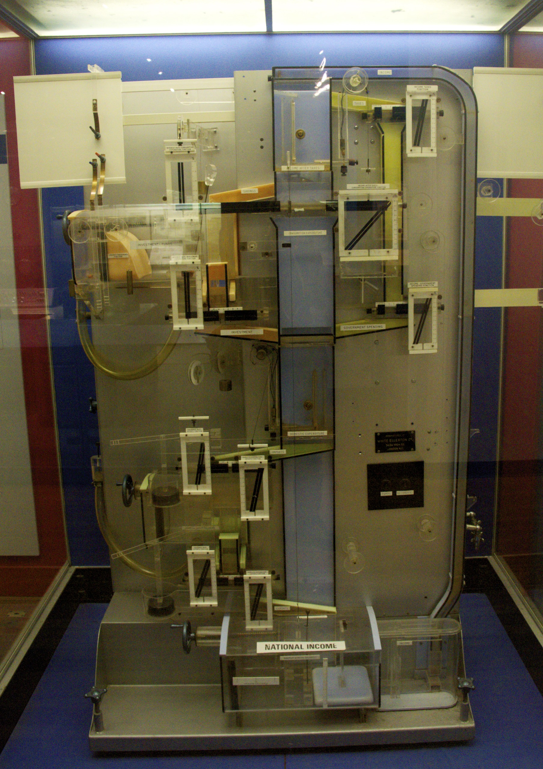 MONIAC computer exhibited in the Science Museum London (2013).