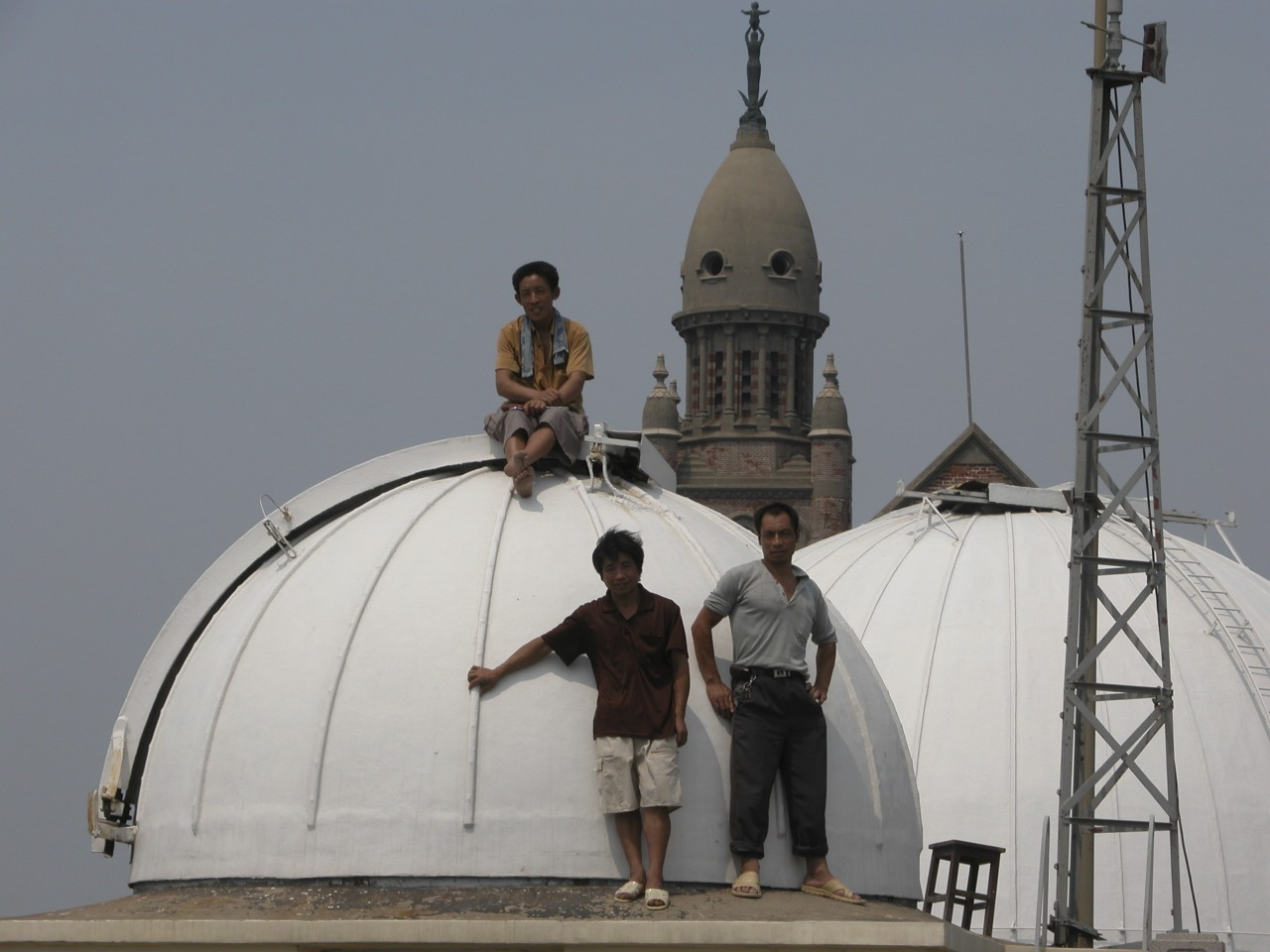 Builders at the Sheshan Observatory, as seen in 2004.