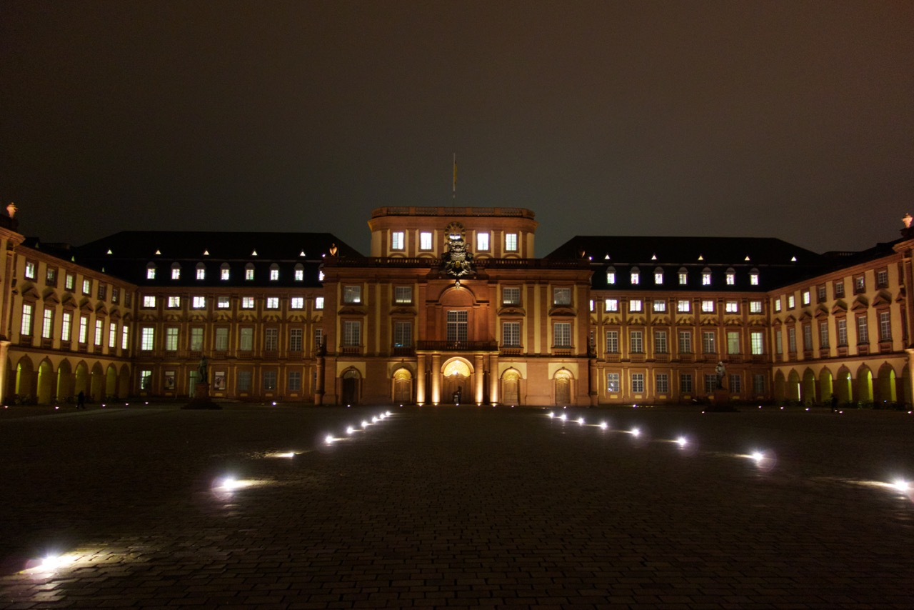Evening view on the Main Building of Mannheim University in the Palace.