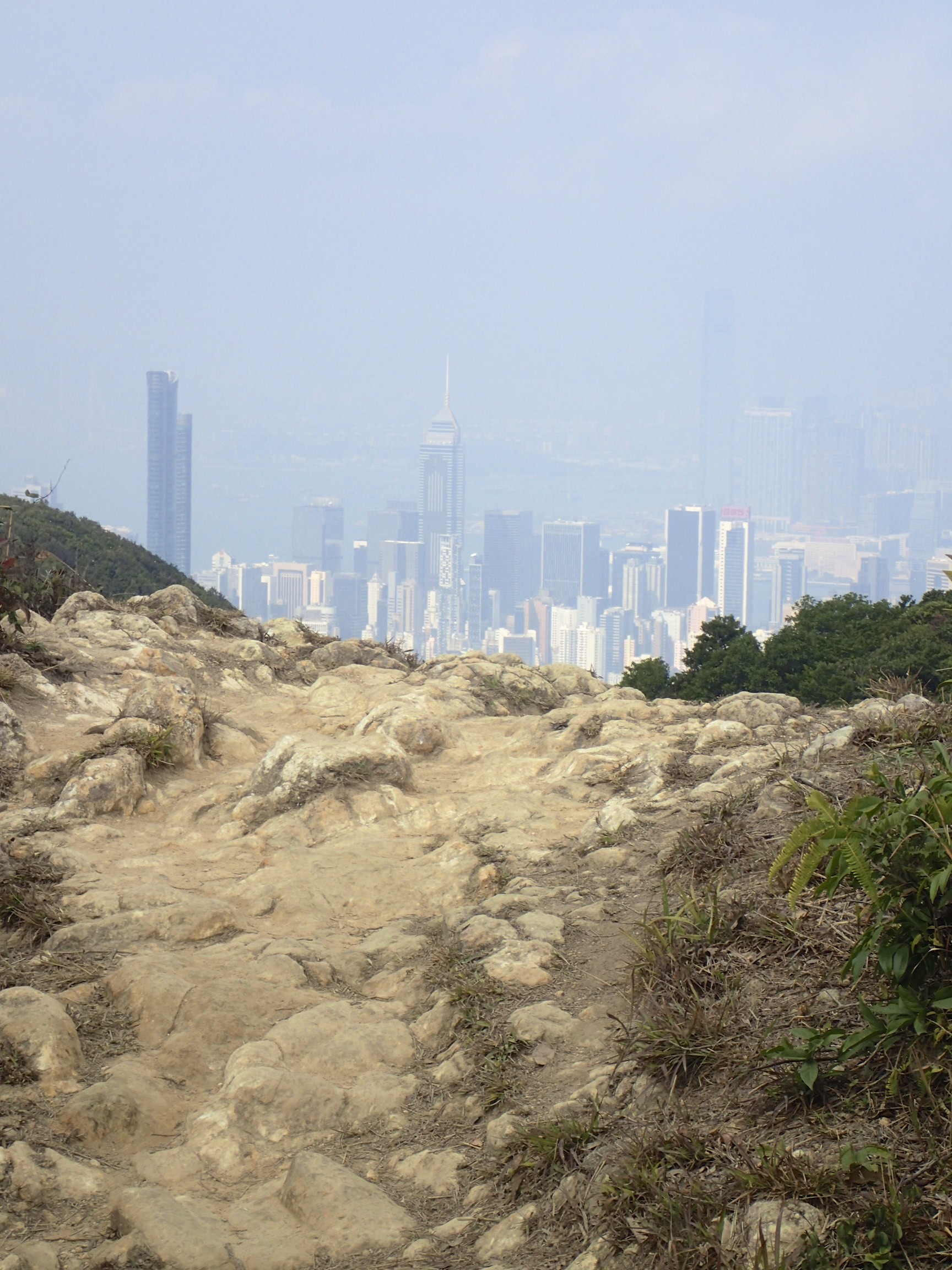 Hong Kong view on a hazy day (which there are many) from the end of the first section of the Wilson Trail.