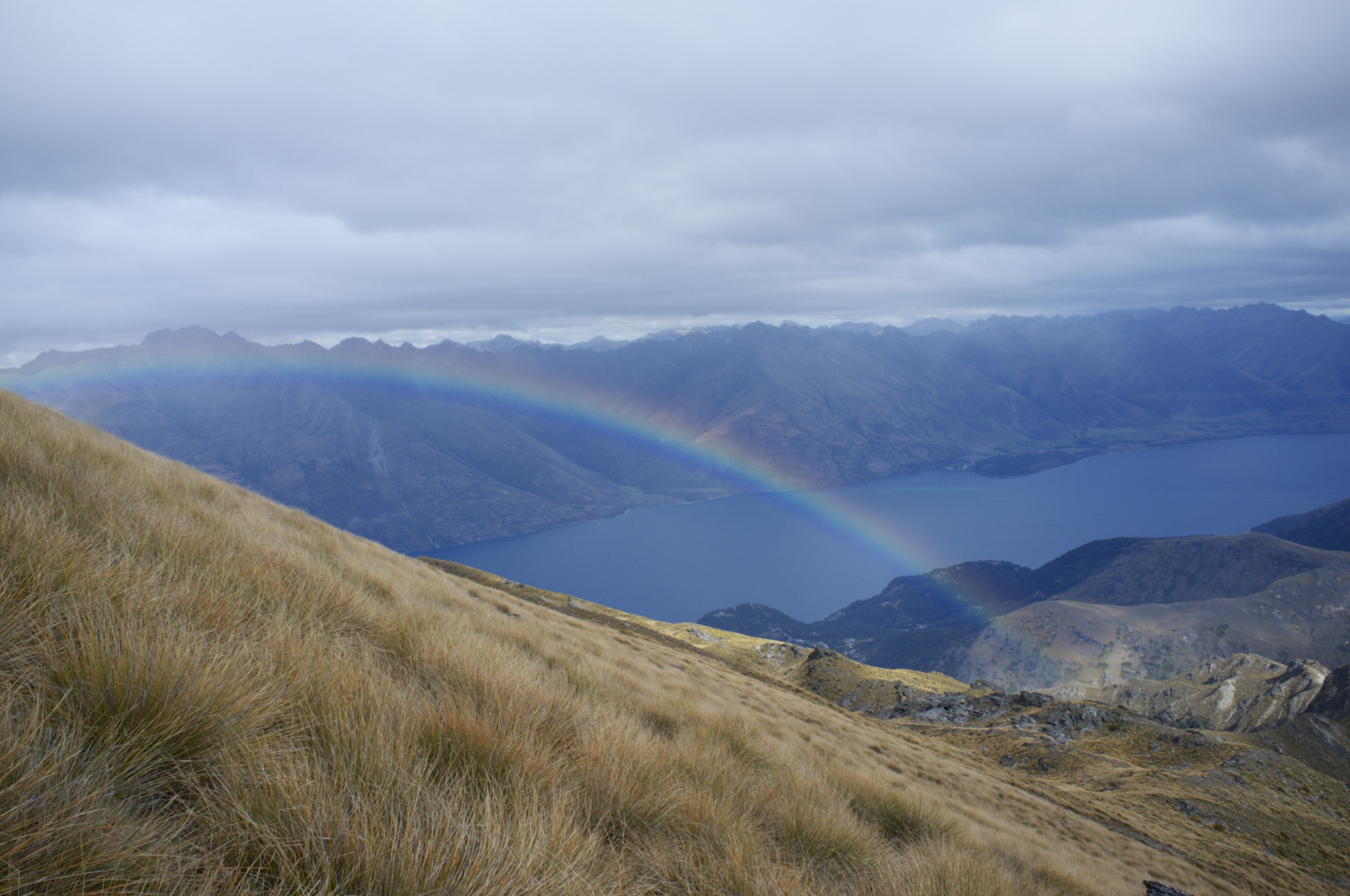 Both ends of the rainbow above lake Wakatipu.
