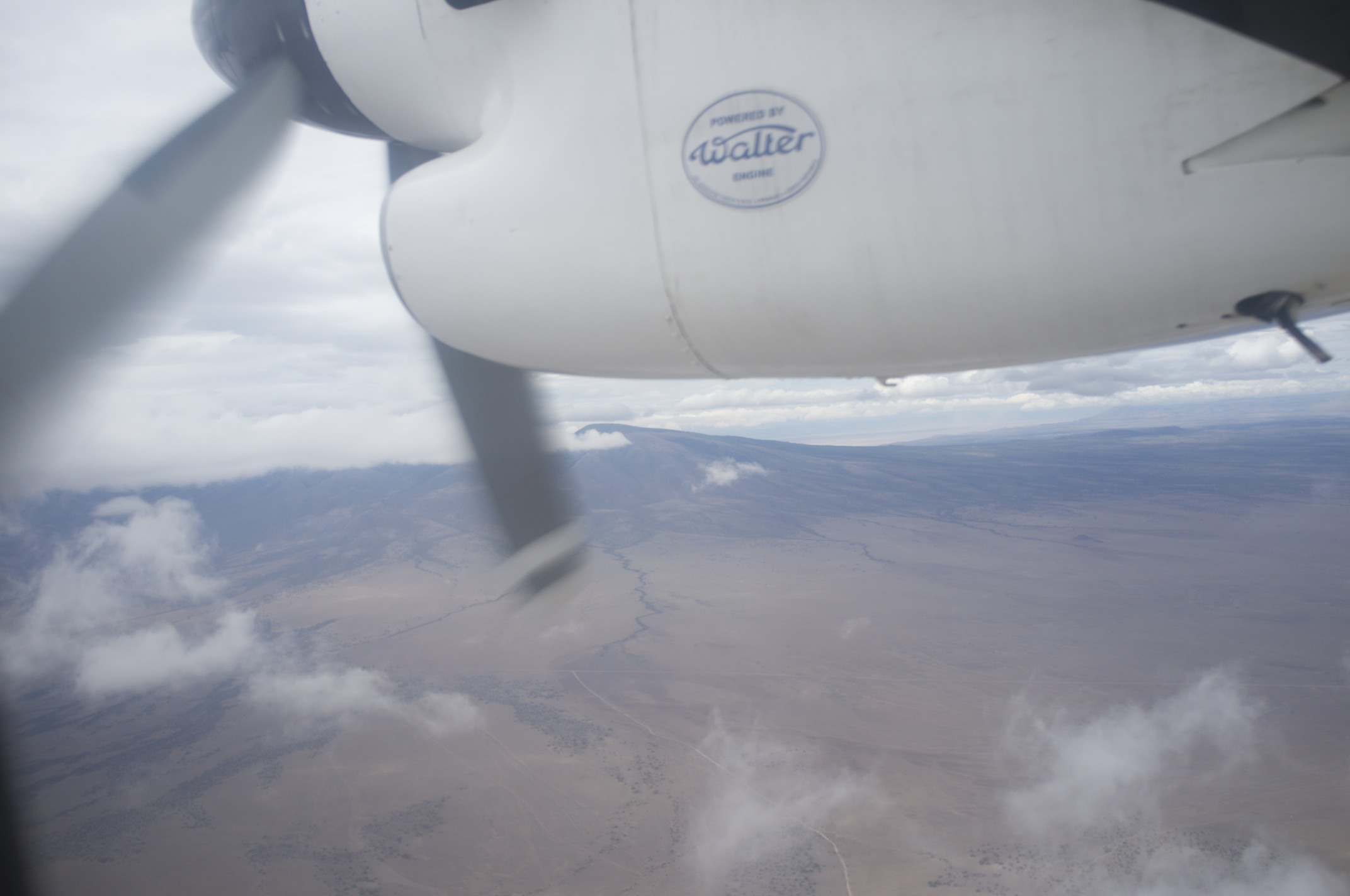 Stuttering engine over East Africa. Before the take off further, Zanzibar runway had a power blackout.